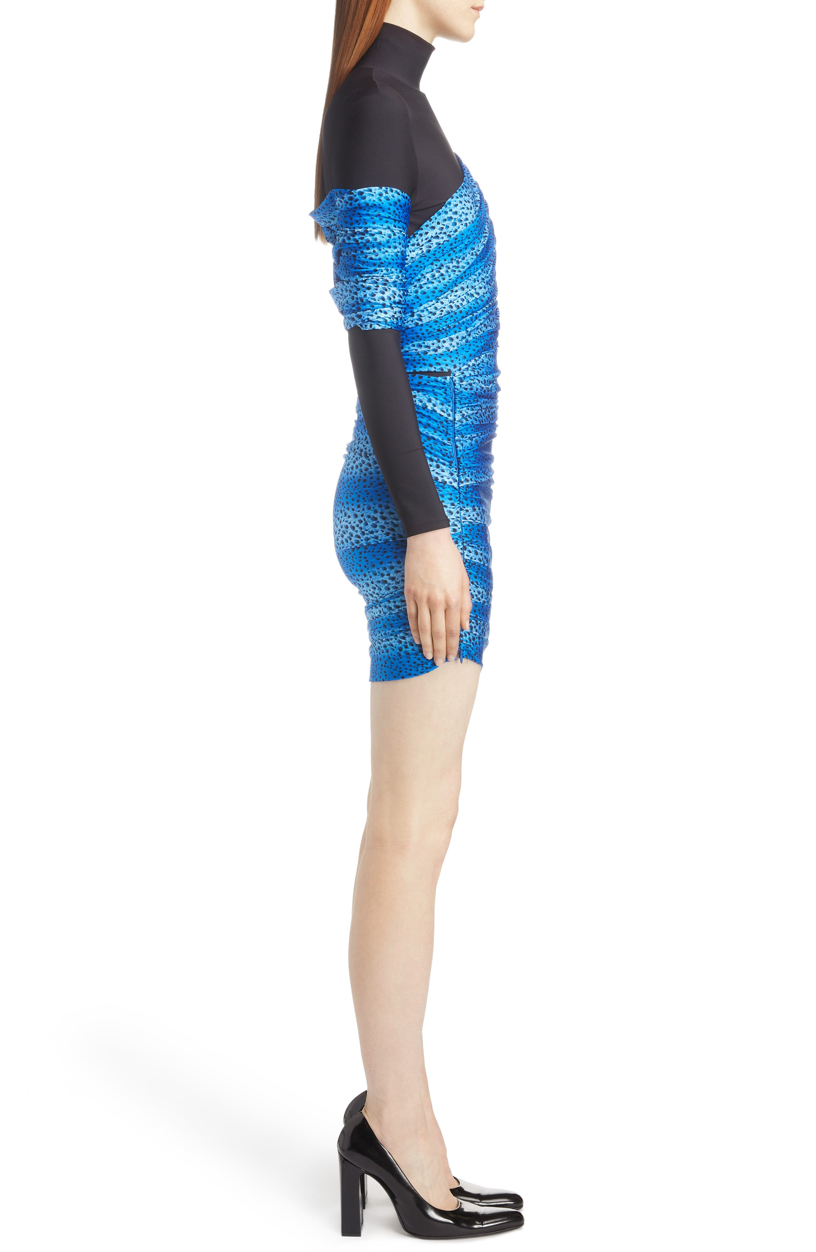 Cheetah Print Overlay Body-Con Dress,                             Alternate thumbnail 3, color,                             4011-BLUE