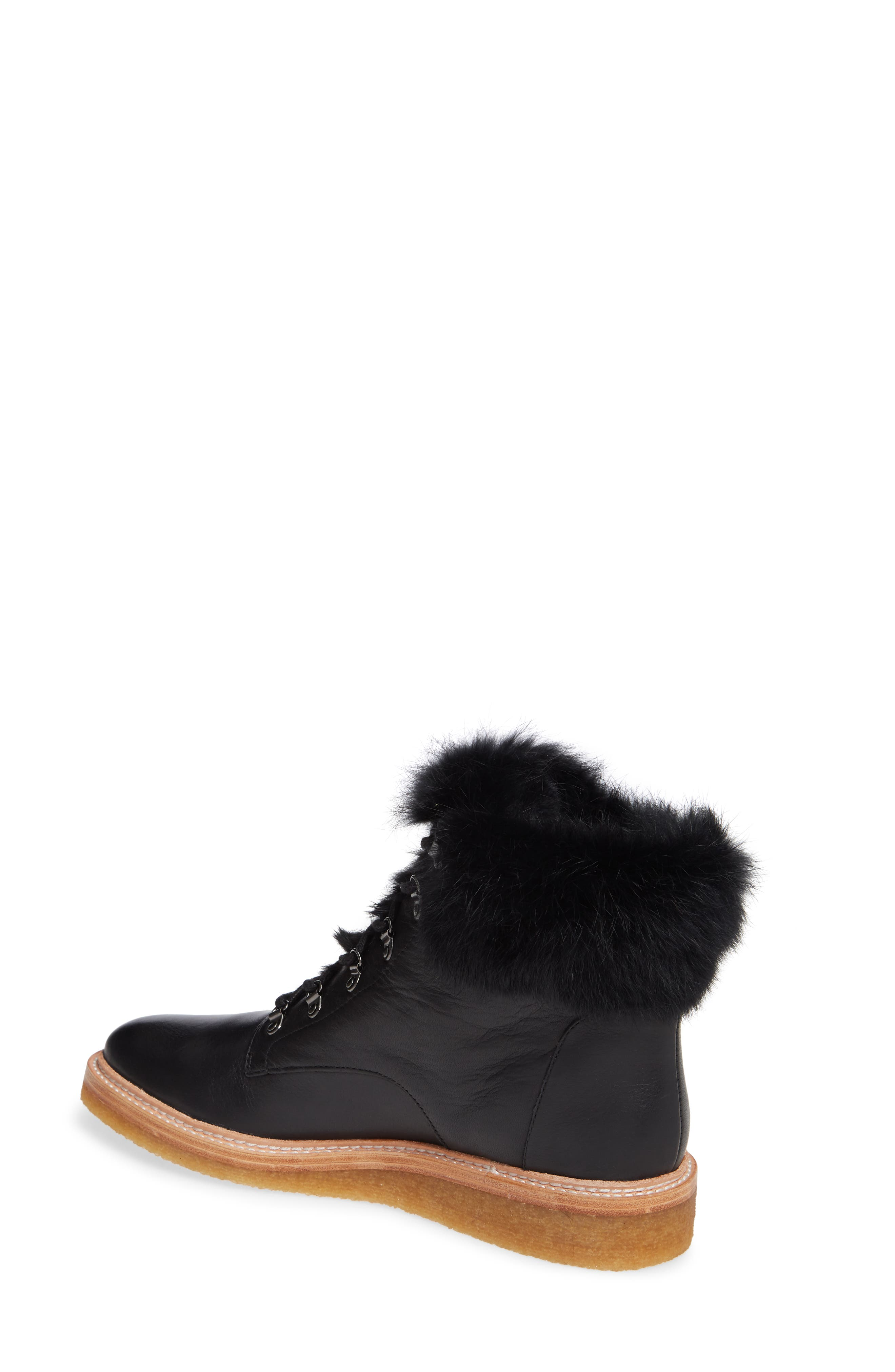 Winter Genuine Rabbit Fur Trim Boot,                             Alternate thumbnail 2, color,                             BLACK LEATHER