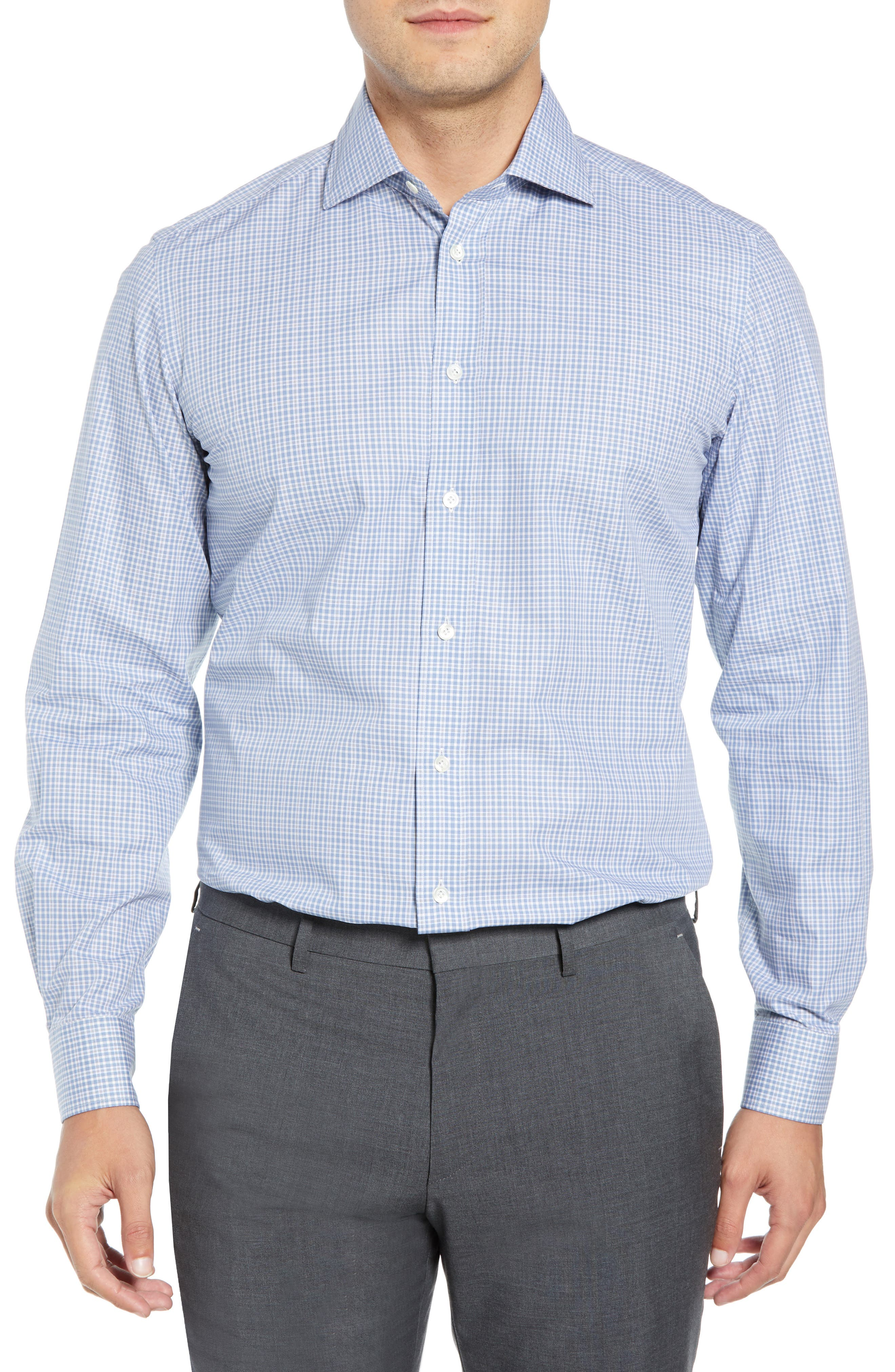 LUCIANO BARBERA Slim Fit Check Dress Shirt in Blue