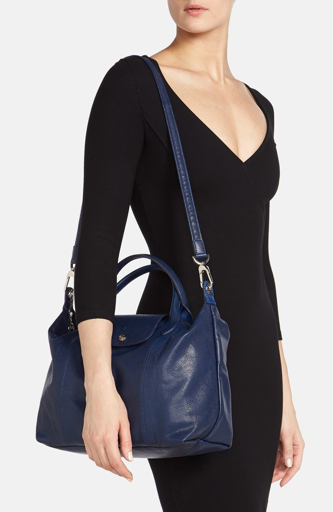 Medium 'Le Pliage Cuir' Leather Top Handle Tote,                             Alternate thumbnail 79, color,