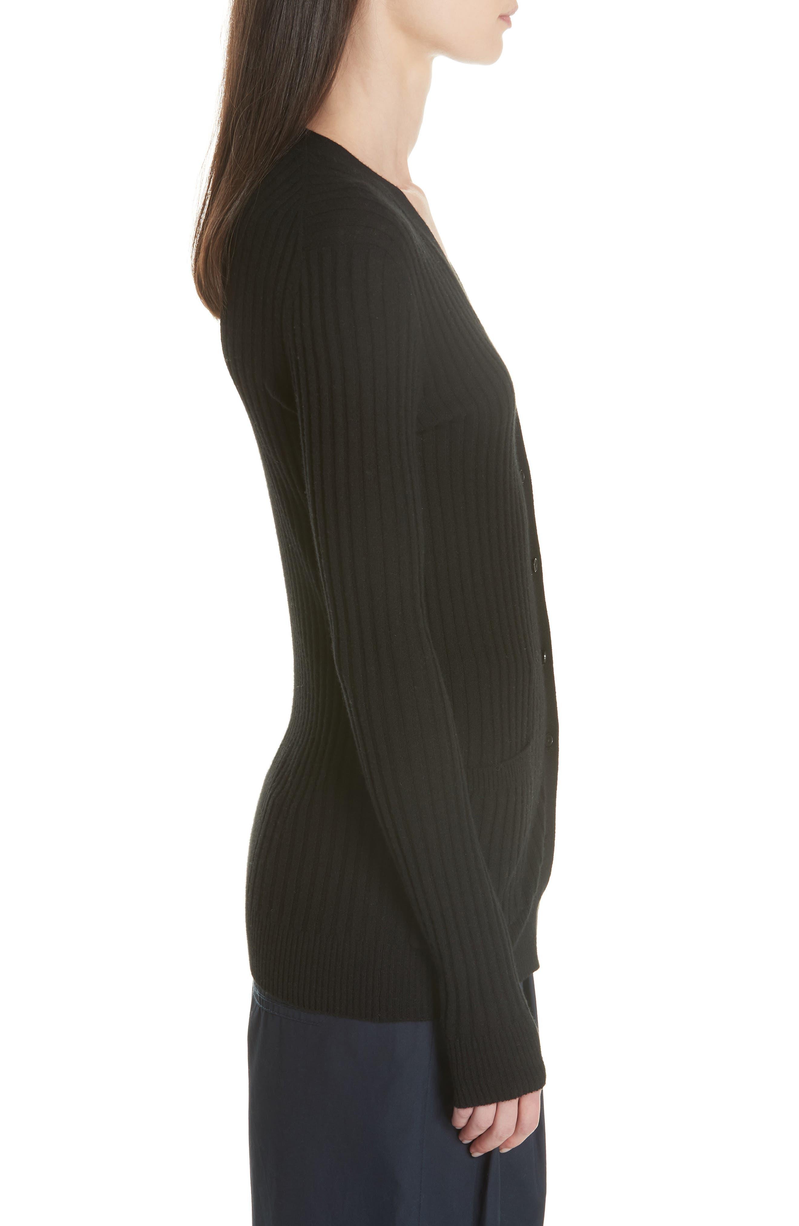 Ribbed Skinny Cashmere Cardigan,                             Alternate thumbnail 3, color,                             BLACK