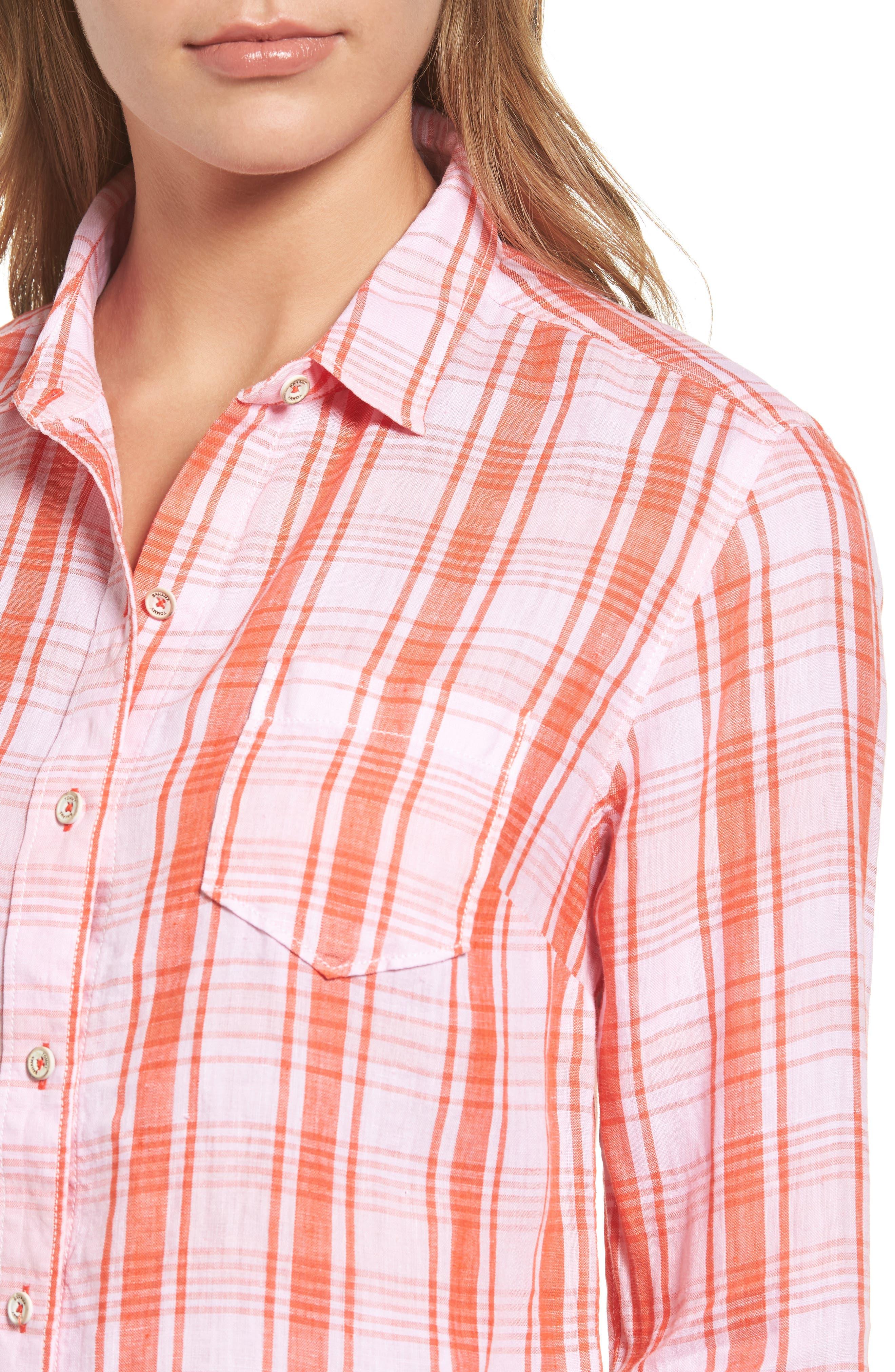 Athena Plaid Linen Shirt,                             Alternate thumbnail 4, color,                             800