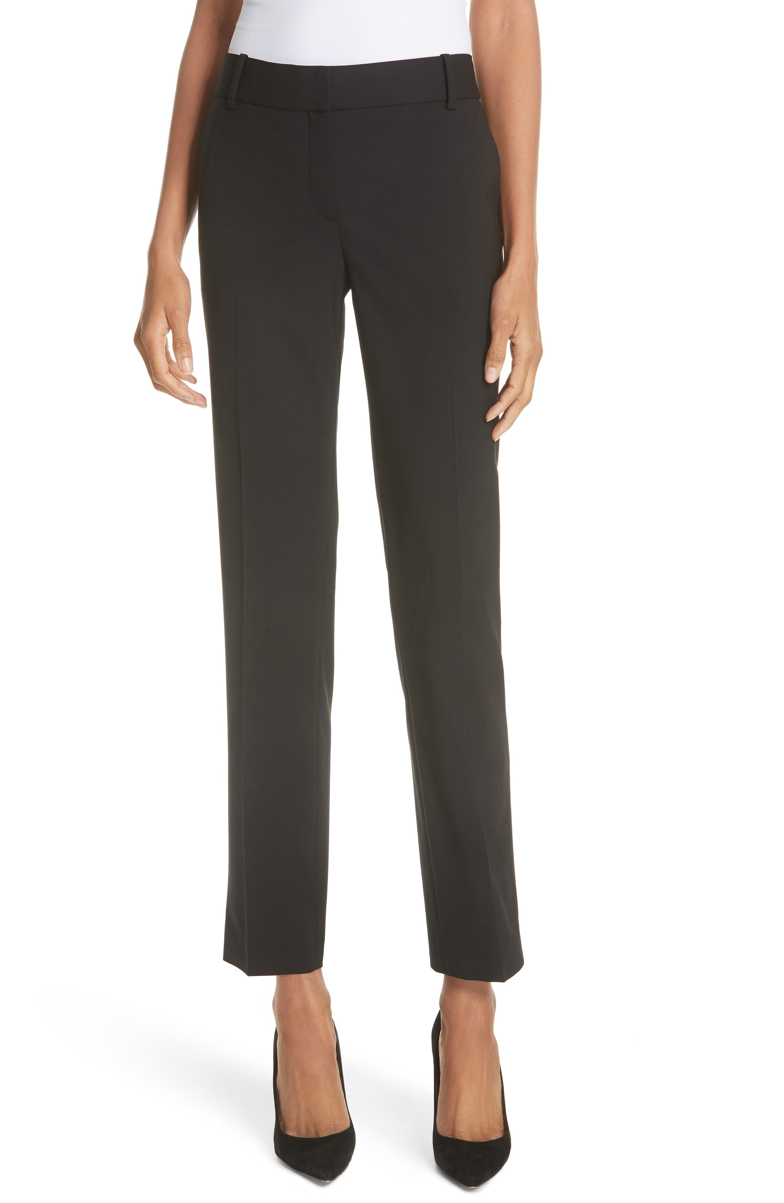 Straight Leg Stretch Wool Trousers, Main, color, BLACK