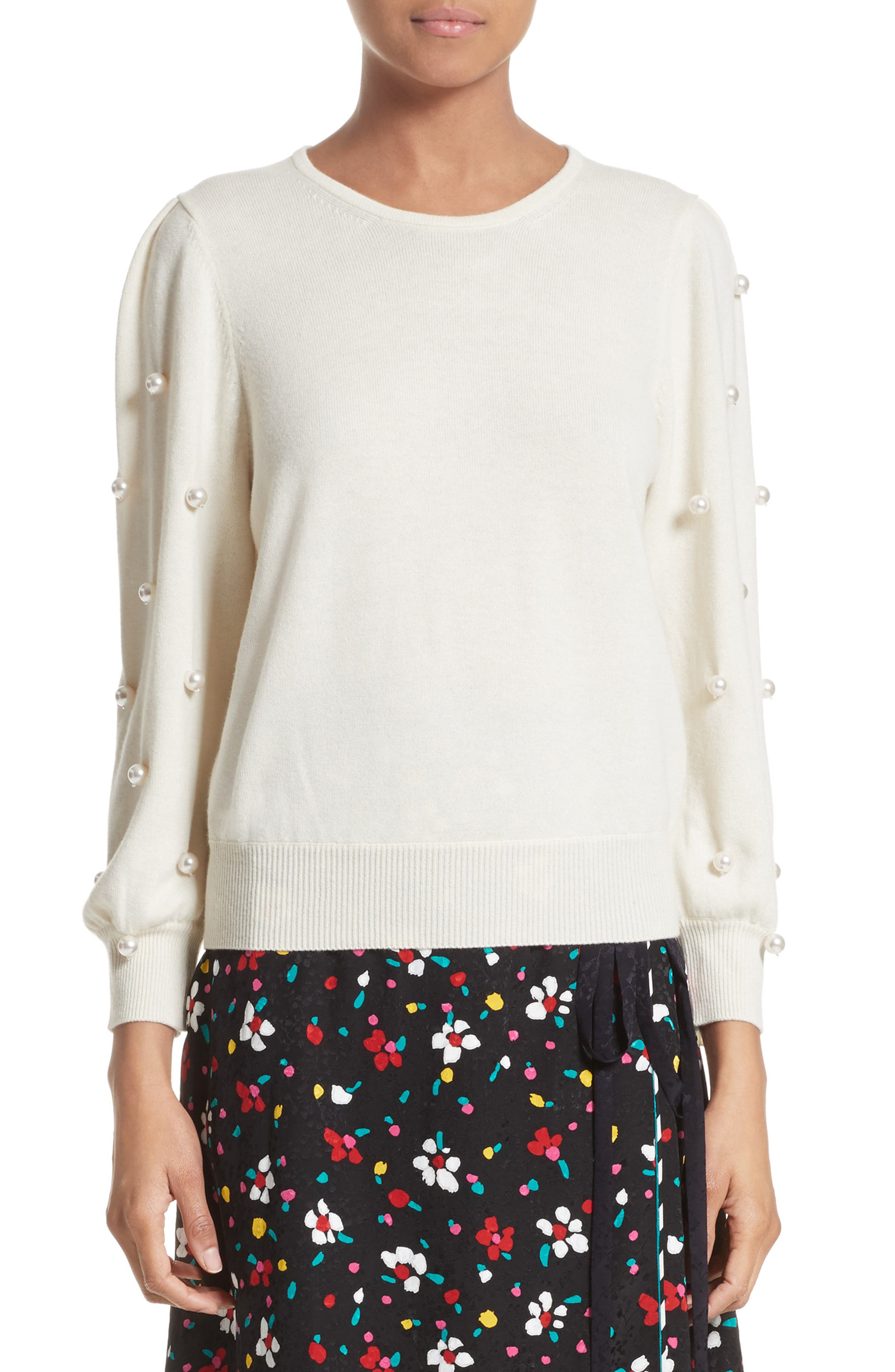 Imitation Pearl Embellished Wool & Cashmere Sweater,                             Main thumbnail 2, color,
