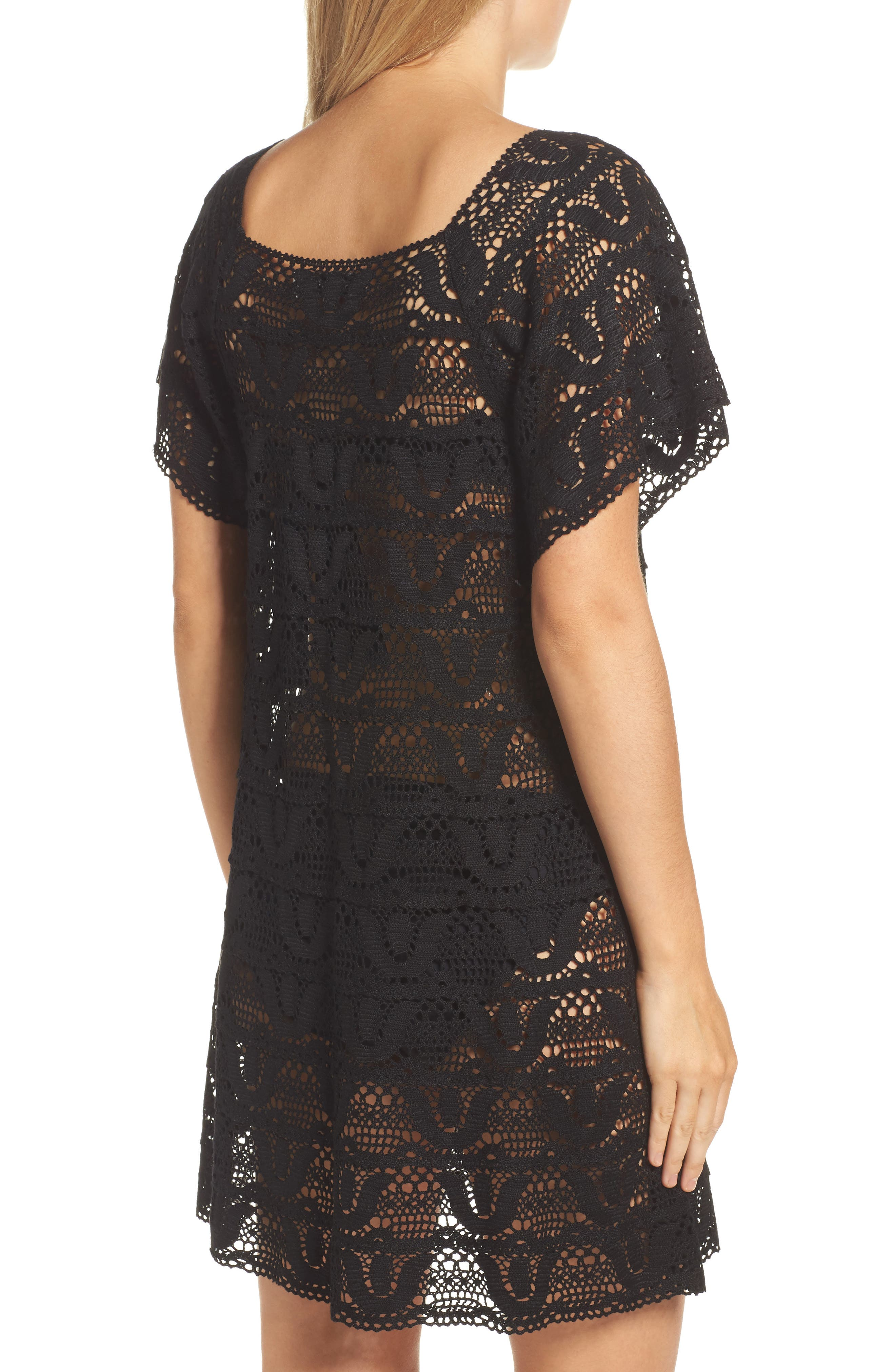 Nanette Lapore Crochet Cover-Up Dress,                             Alternate thumbnail 2, color,                             001