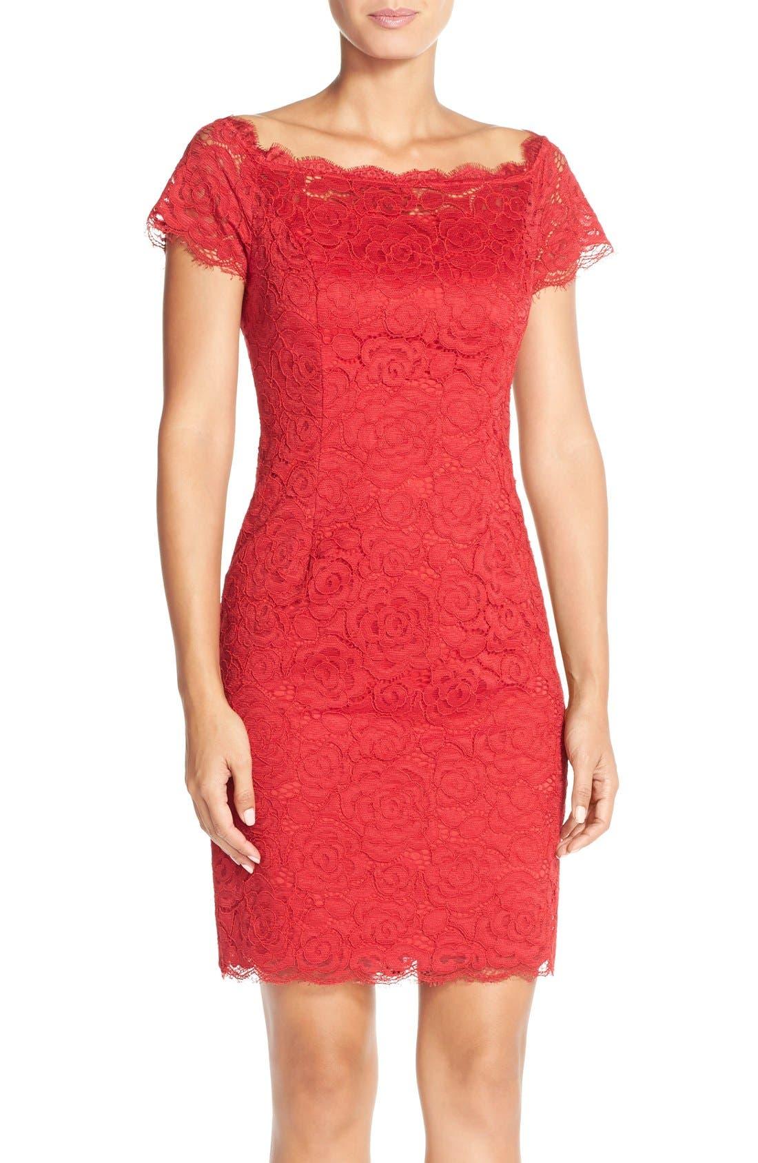 Off the Shoulder Lace Sheath Dress,                             Main thumbnail 5, color,
