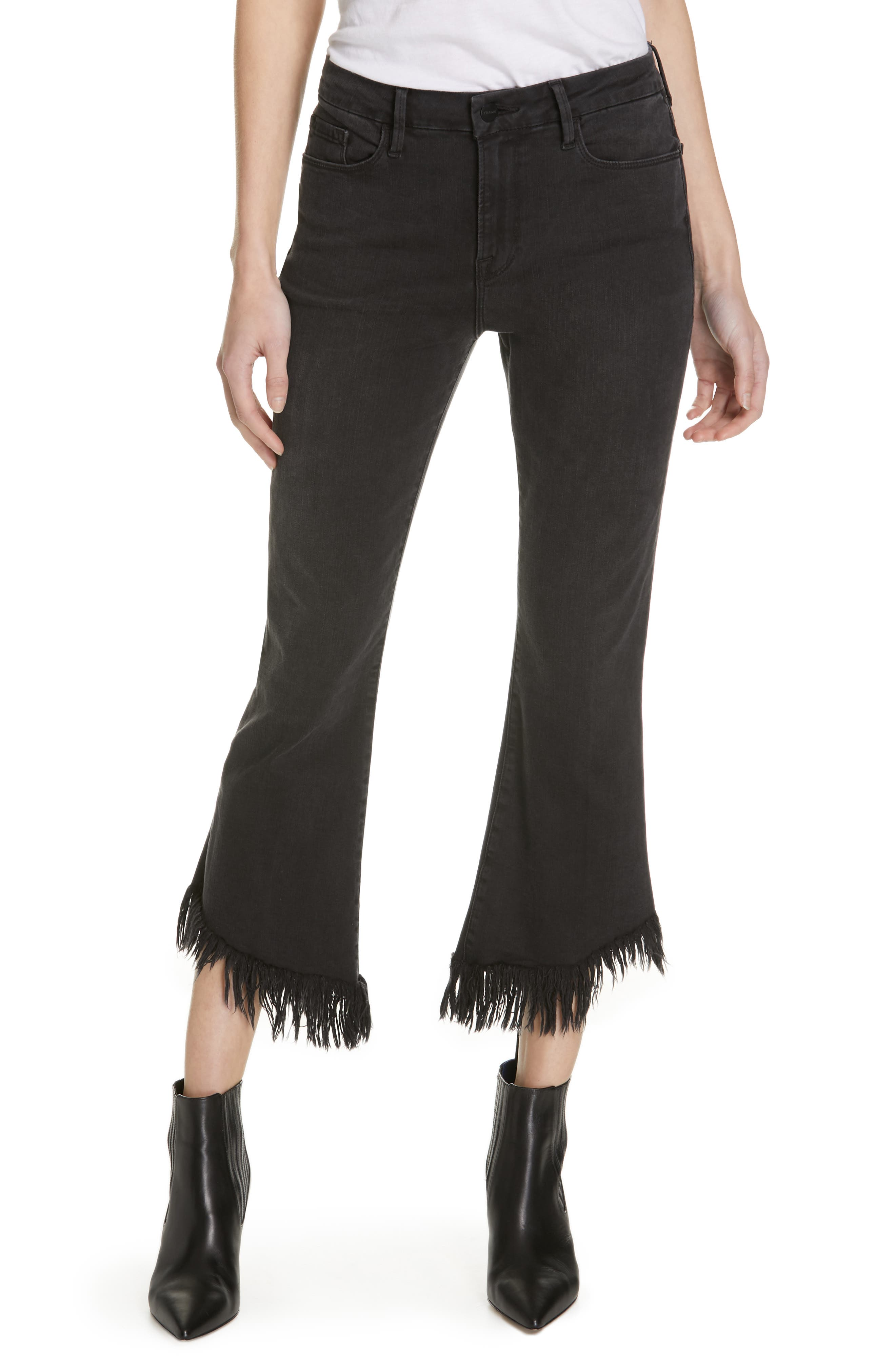Le Crop Mini Boot Shredded Hem Jeans,                         Main,                         color, 001