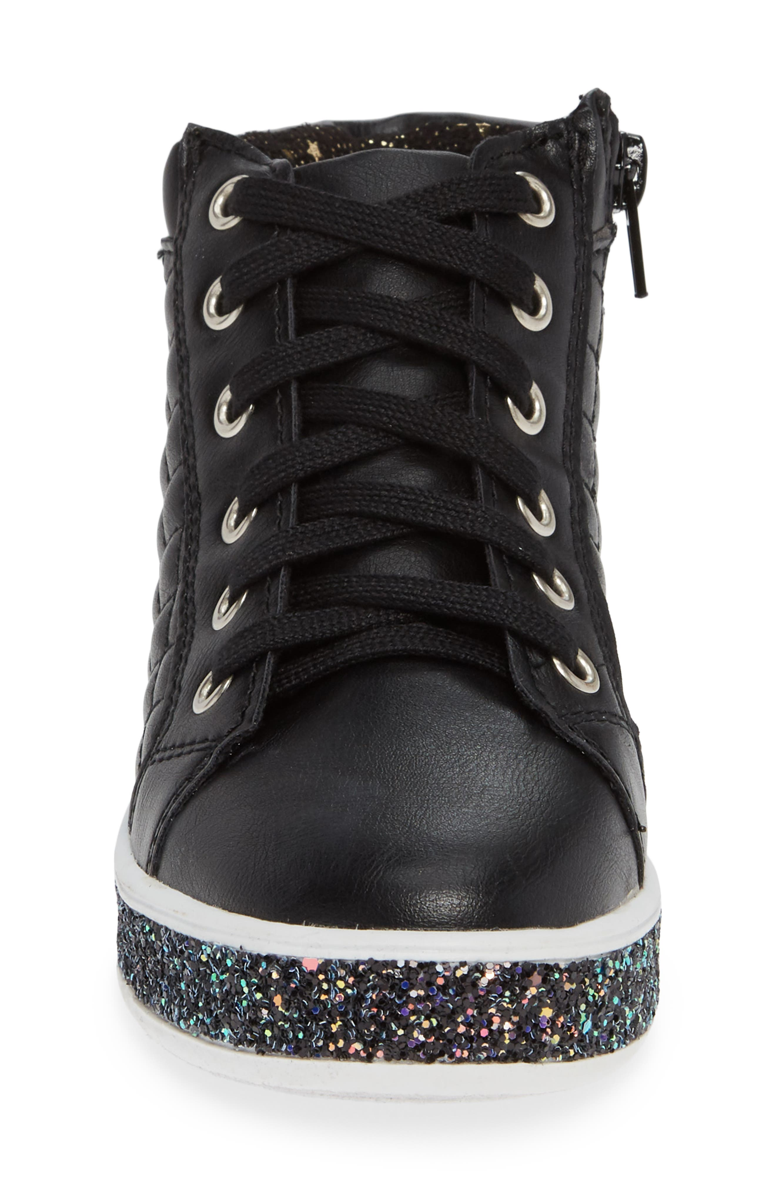 Glittery High Top Sneaker,                             Alternate thumbnail 4, color,                             BLACK