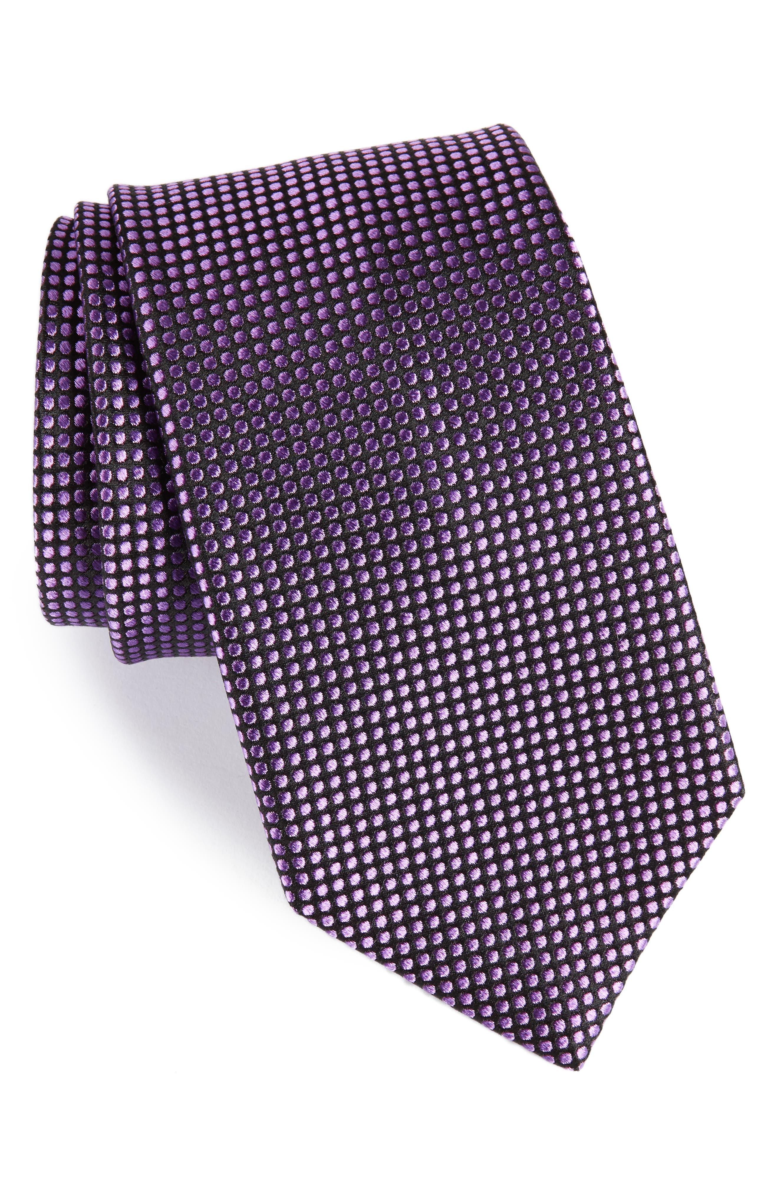 Charlie Dot Silk Tie,                             Main thumbnail 1, color,                             002