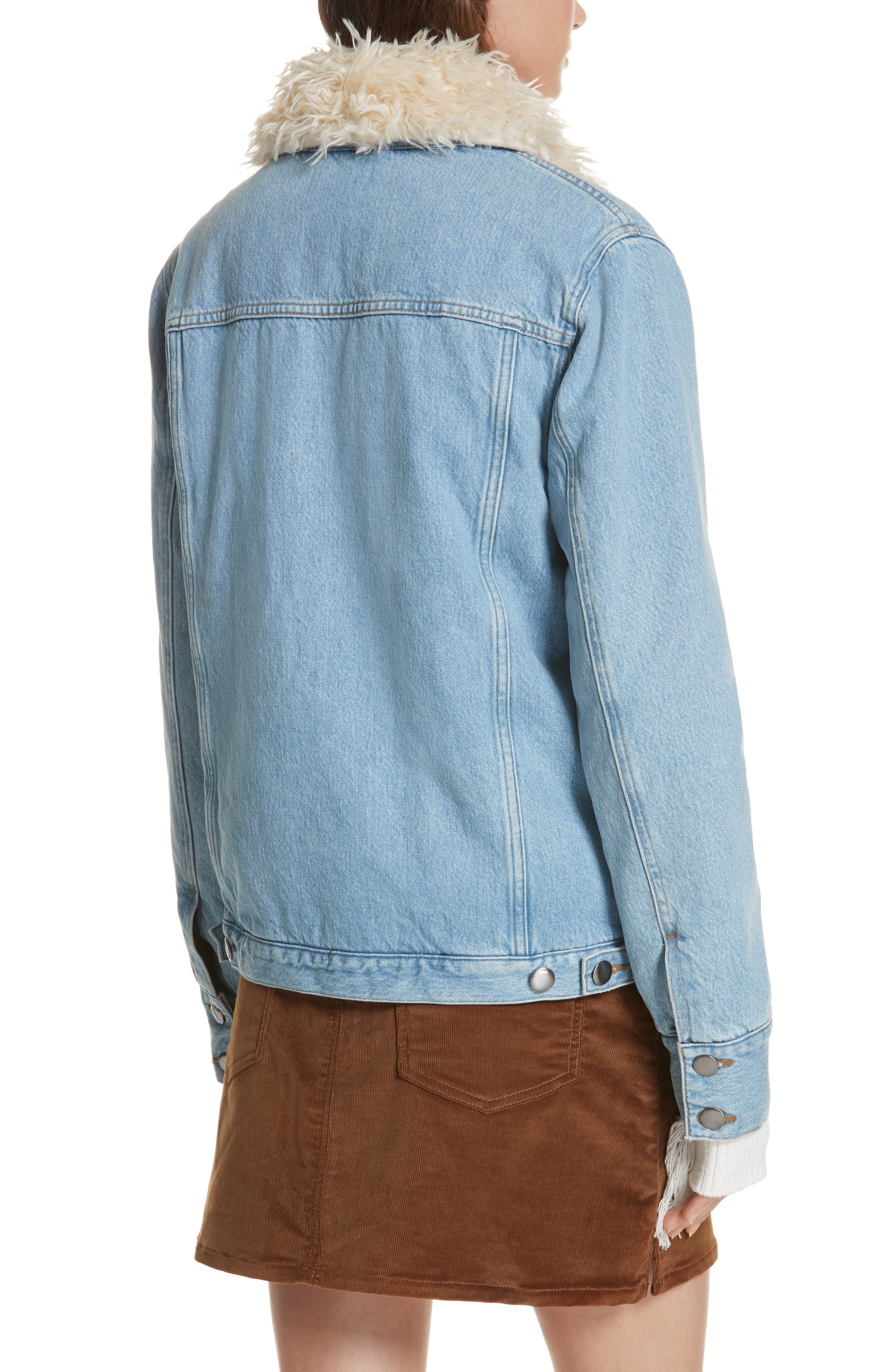 Le Curly Faux Shearling Collar Denim Jacket,                             Alternate thumbnail 2, color,                             MONROE