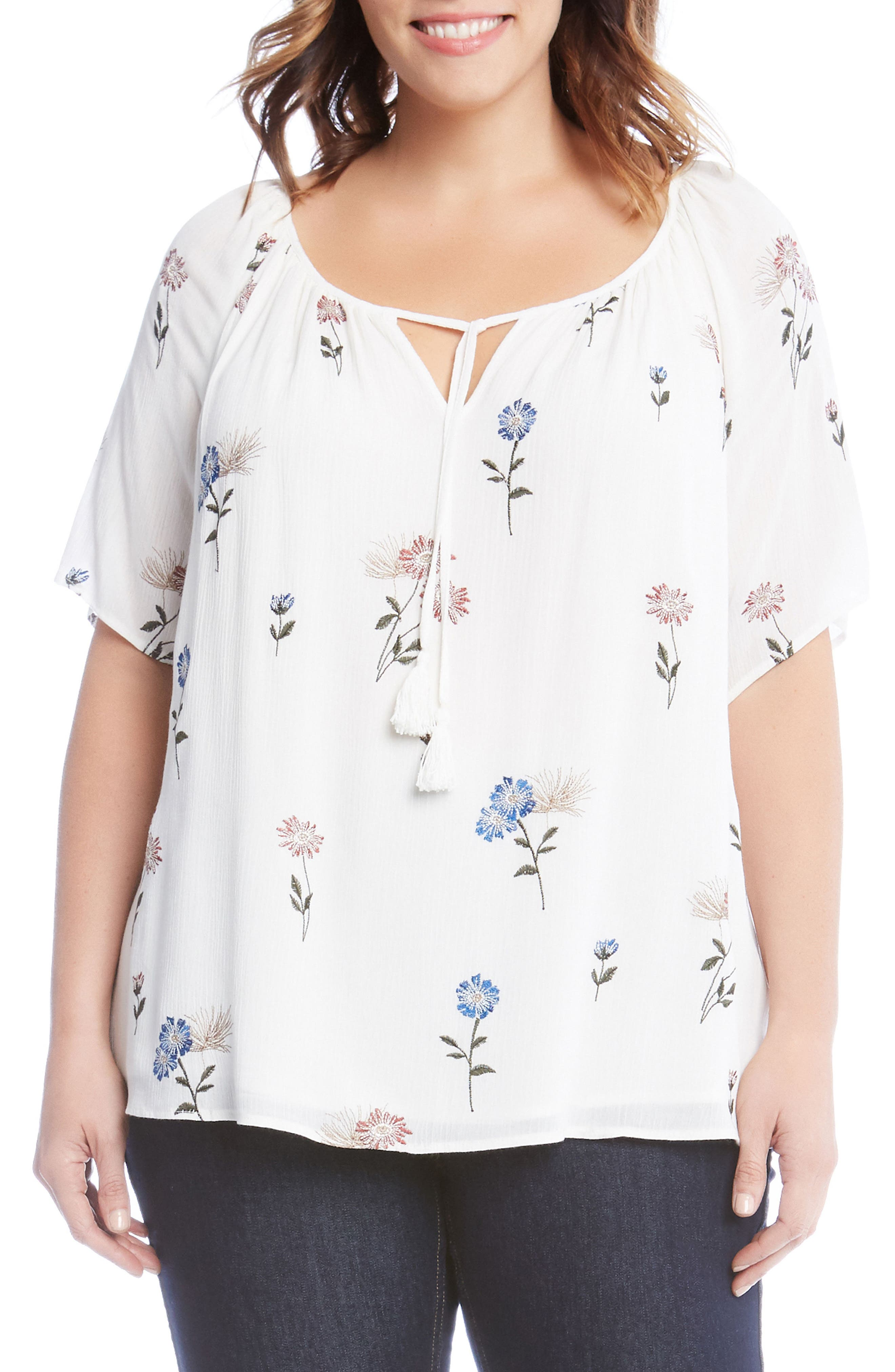 Embroidered Peasant Top,                         Main,                         color,