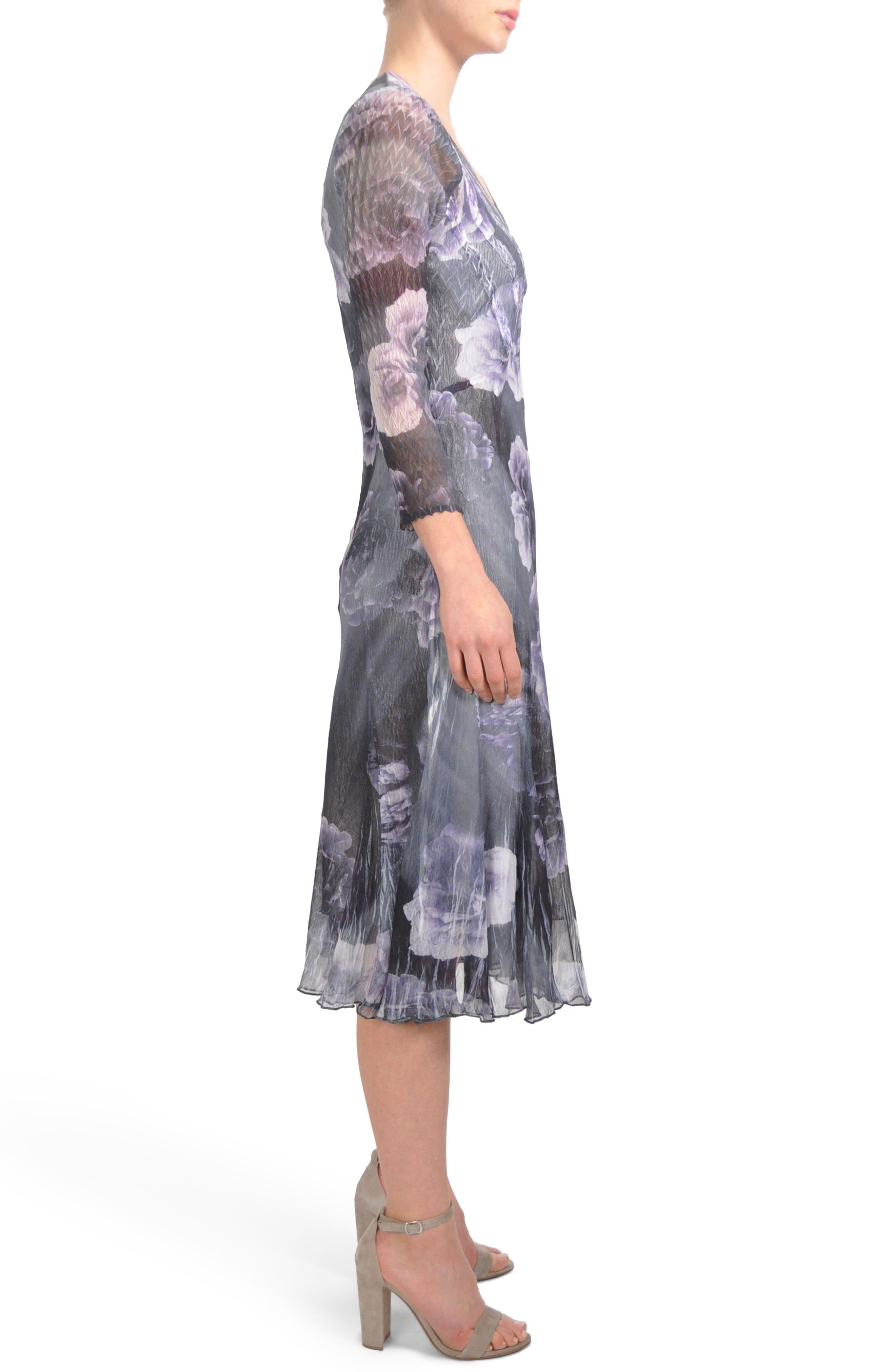 Print Chiffon A-Line Midi Dress,                             Alternate thumbnail 3, color,                             400