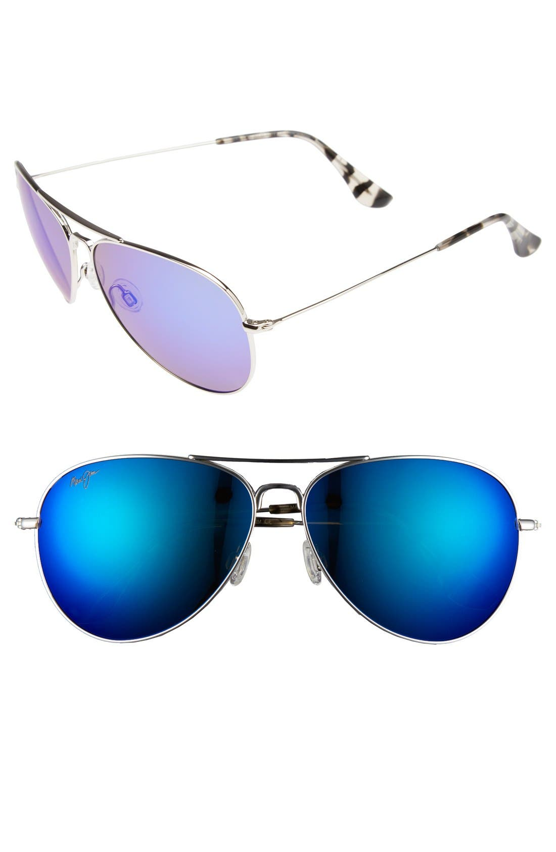 Maui Jim Mavericks 61Mm Polarizedplus2 Aviator Sunglasses - Silver/ Blue Hawaii