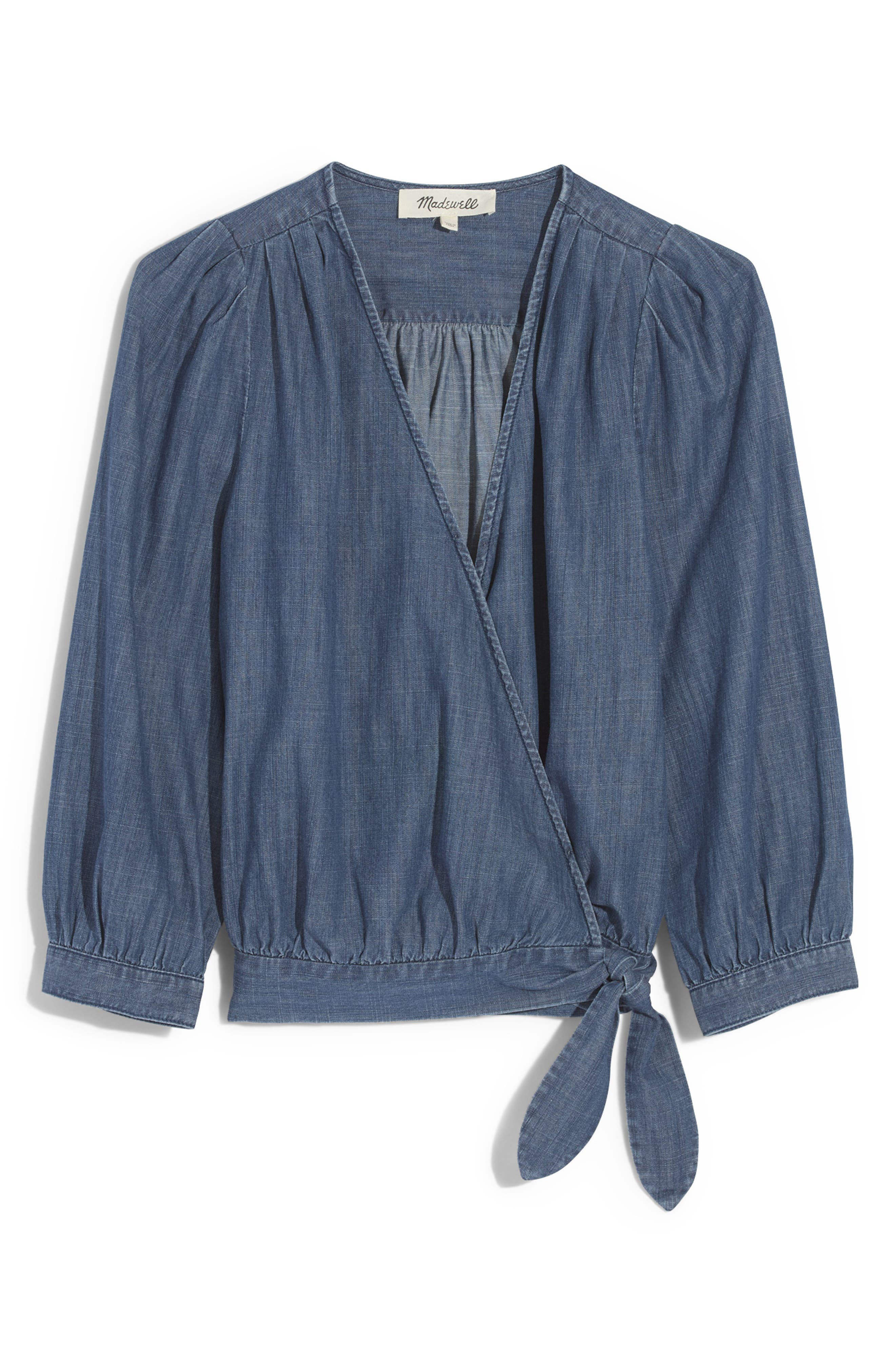 Denim Wrap Blouse,                             Alternate thumbnail 4, color,                             DESCANSO WASH