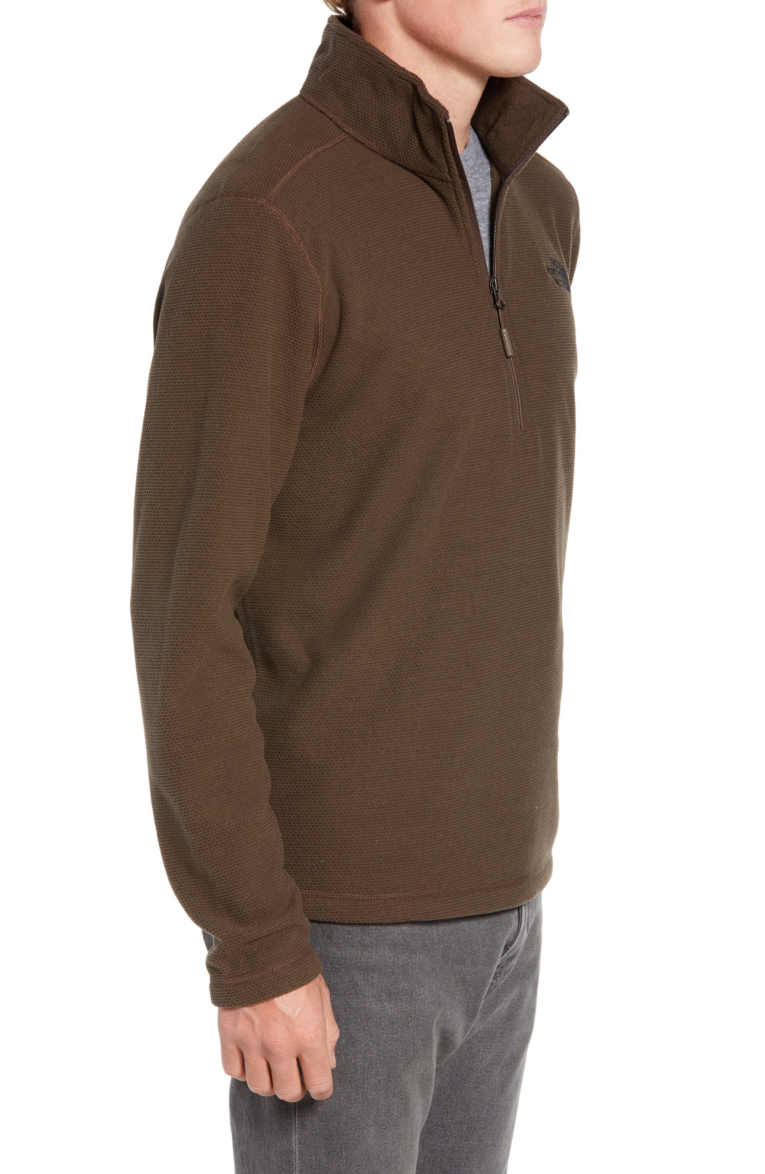 Texture Cap Rock Quarter Zip Fleece Jacket,                             Alternate thumbnail 3, color,                             BRACKEN BROWN