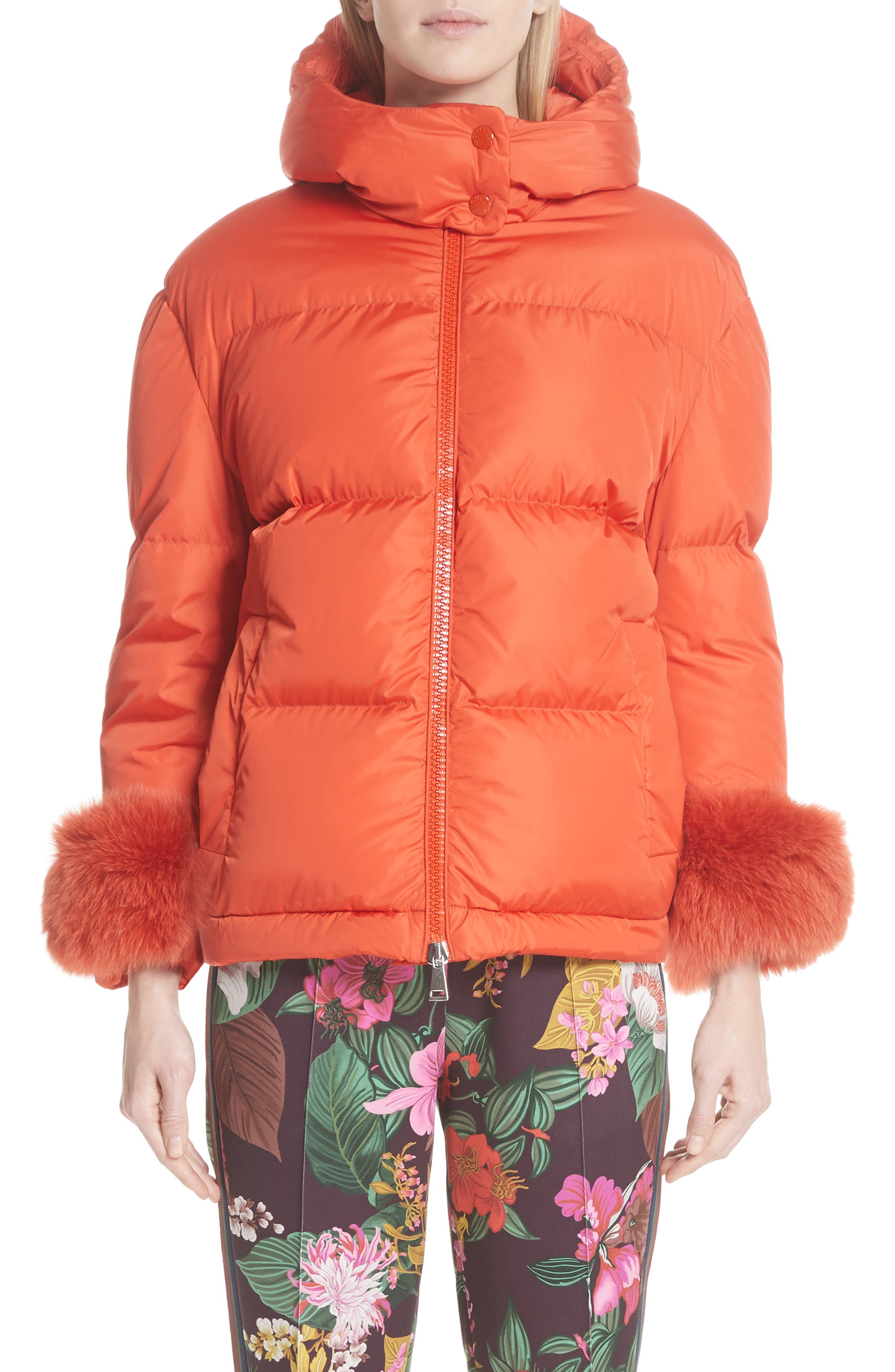 MONCLER,                             Effraie Hooded Down Coat with Removable Genuine Fox Fur Cuffs,                             Main thumbnail 1, color,                             ORANGE