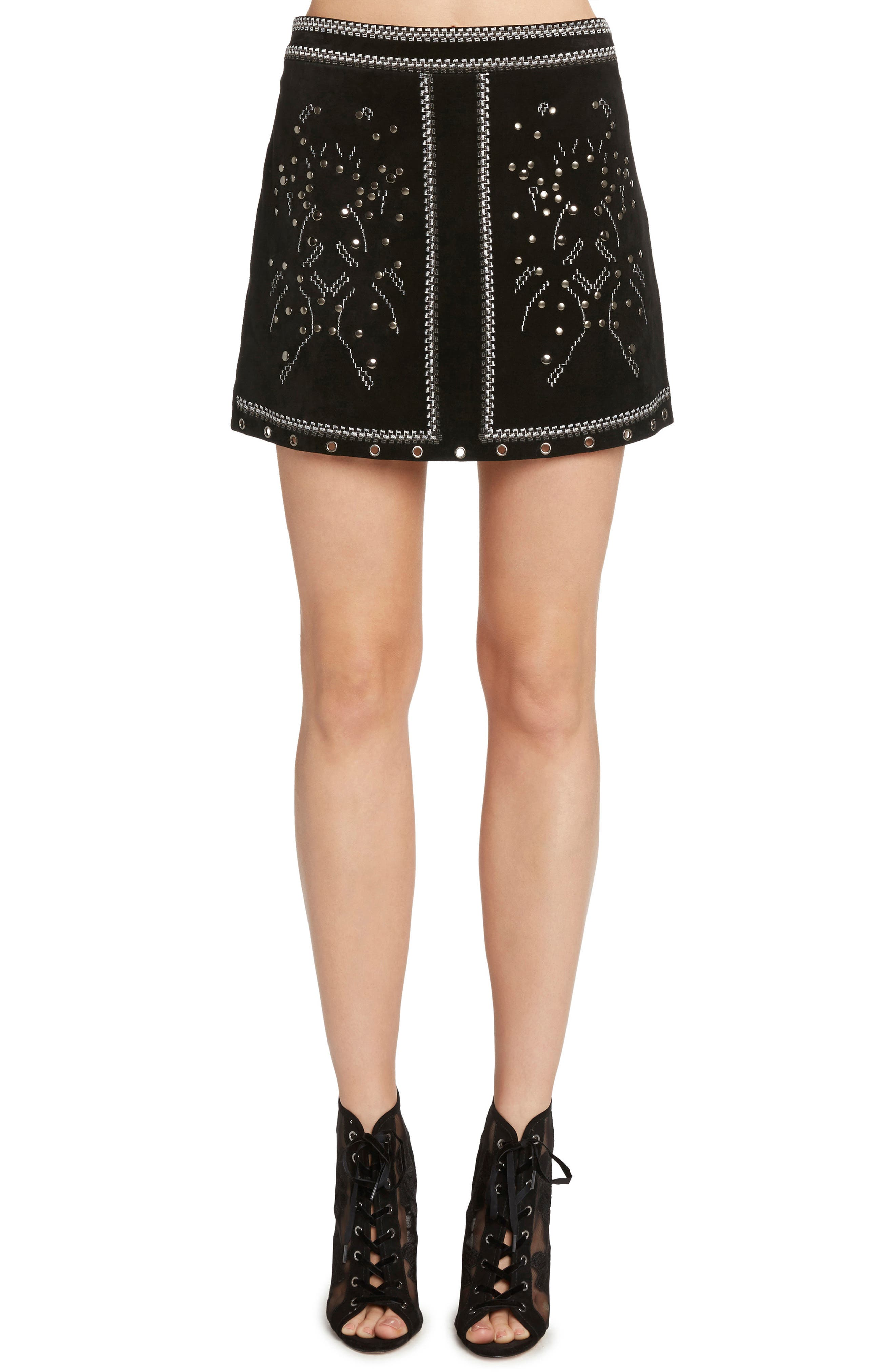 WILLOW & CLAY Embroidered Suede Skirt, Main, color, 001