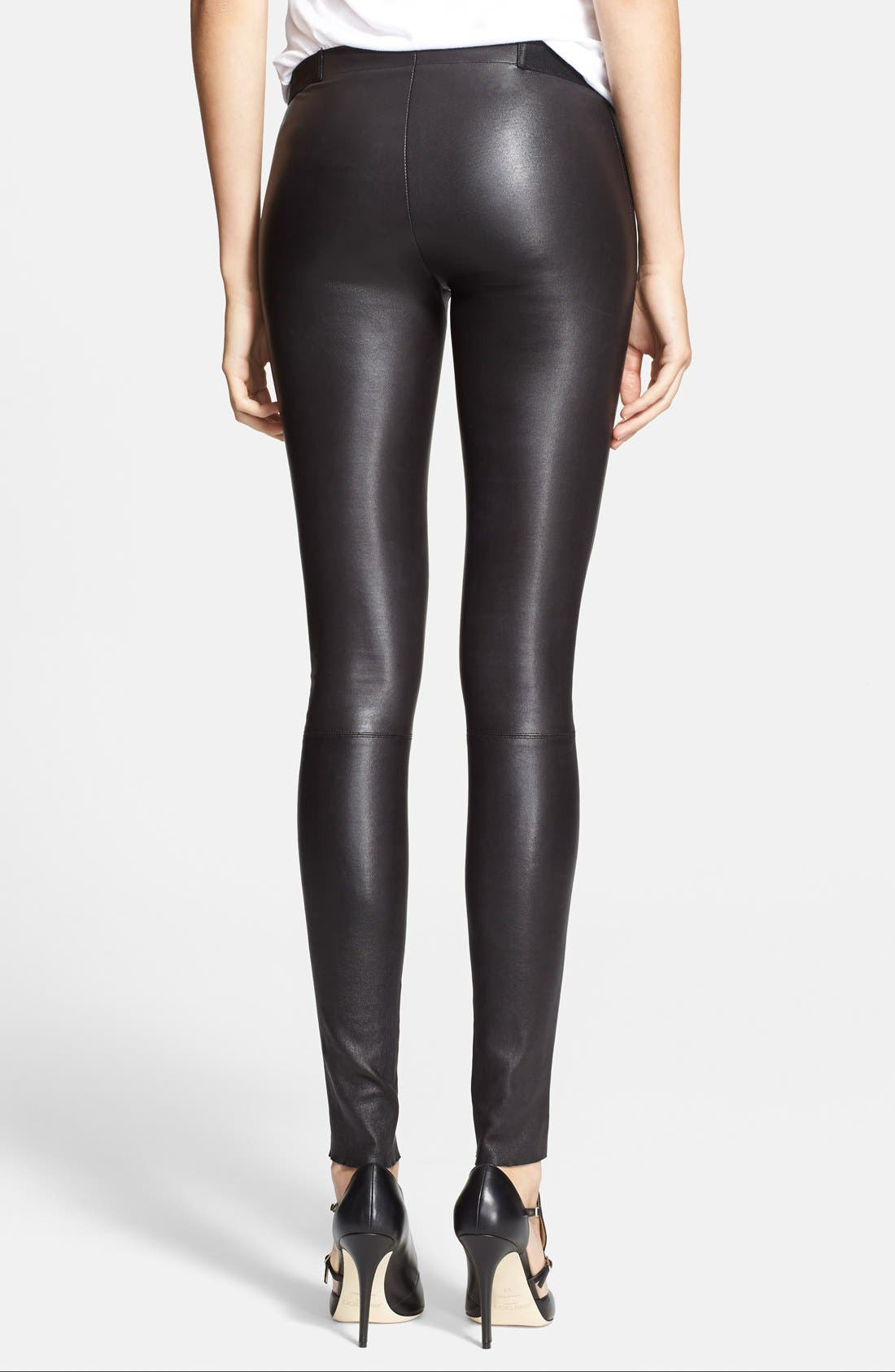 Leather Leggings,                             Alternate thumbnail 10, color,                             BLACK
