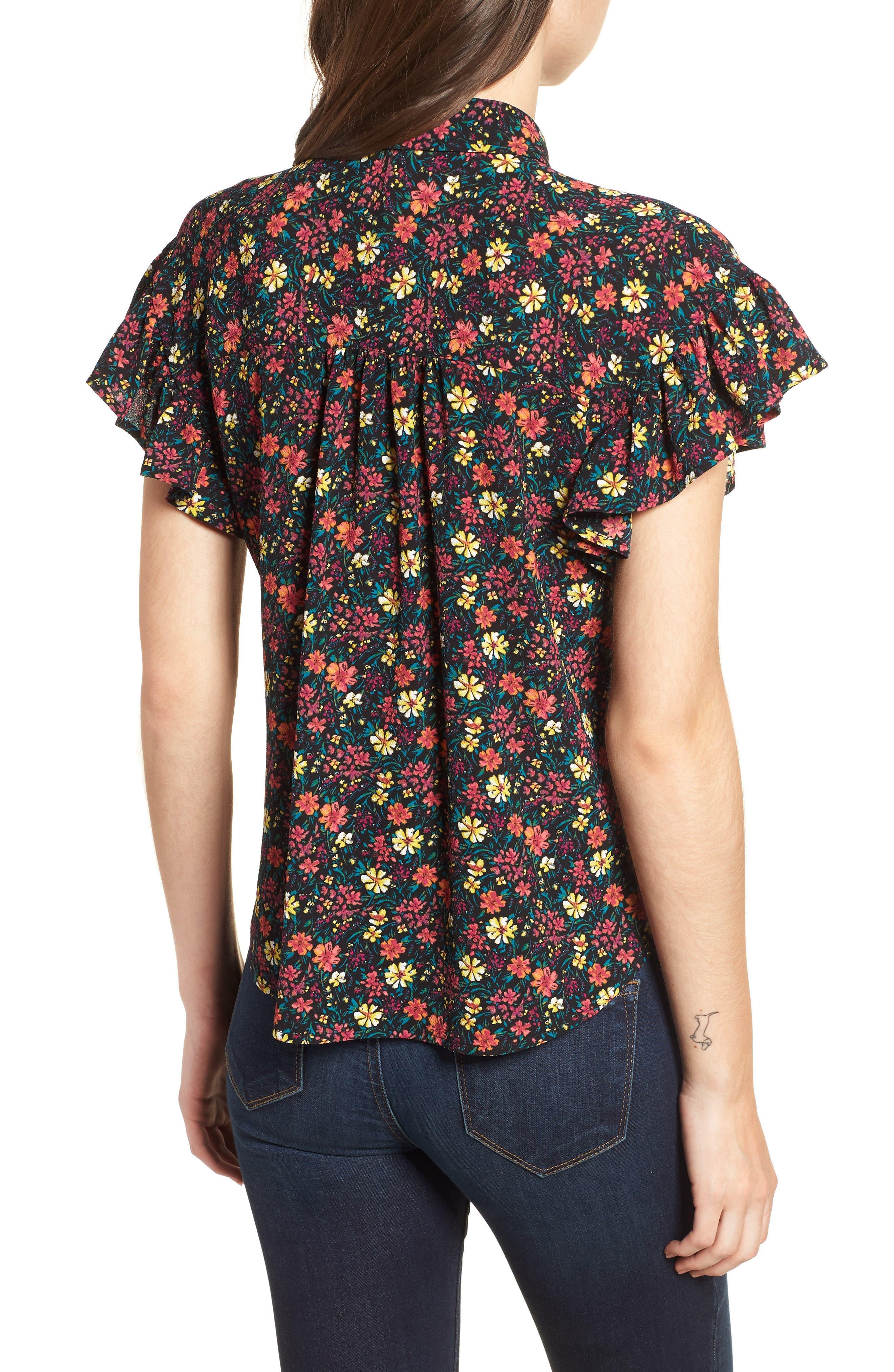 Ruffle Sleeve Print Shirt,                             Alternate thumbnail 2, color,                             BLACK MIX N MATCH A