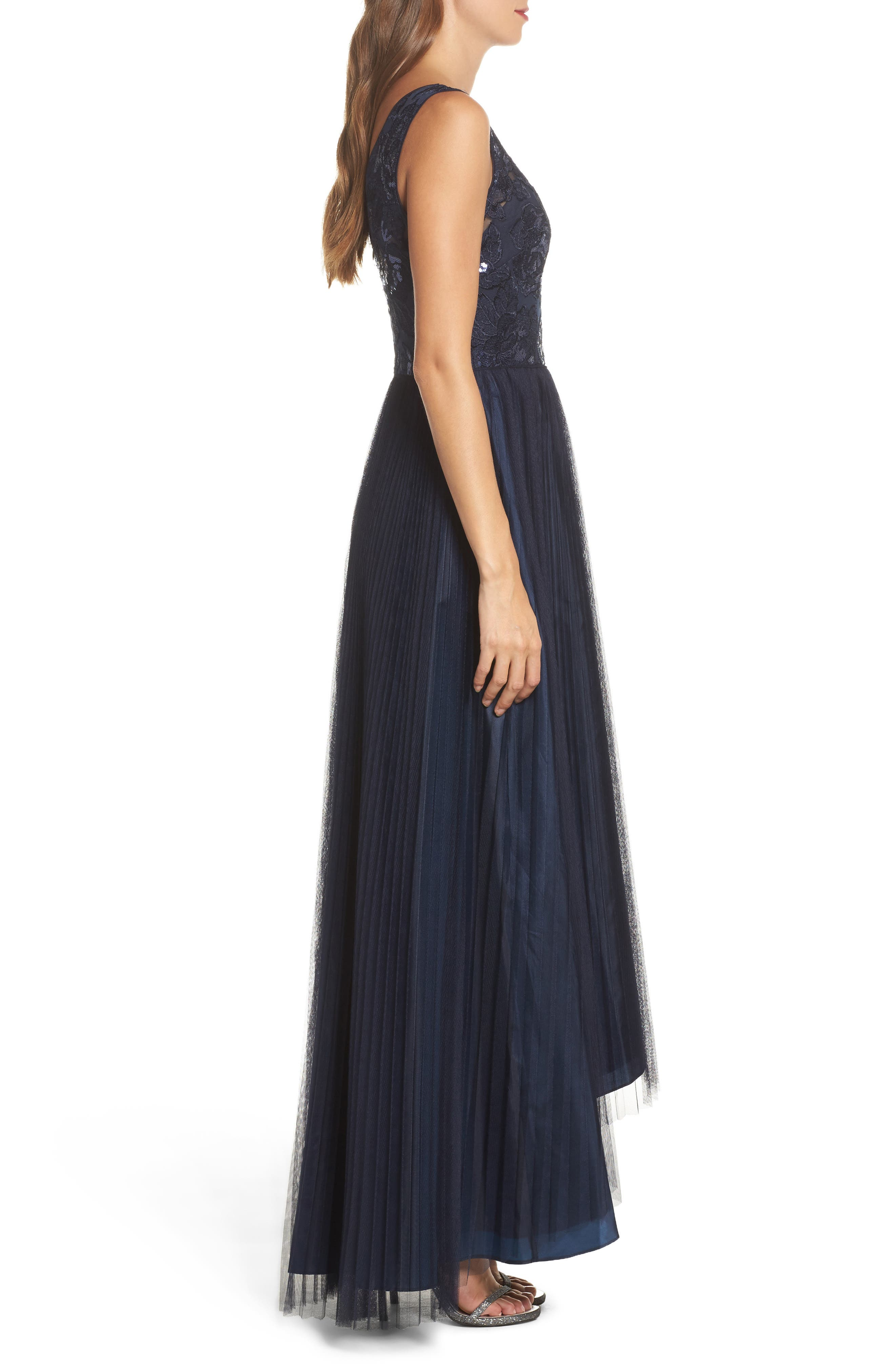 Sequin Pleated Tulle High/Low Gown,                             Alternate thumbnail 3, color,                             411