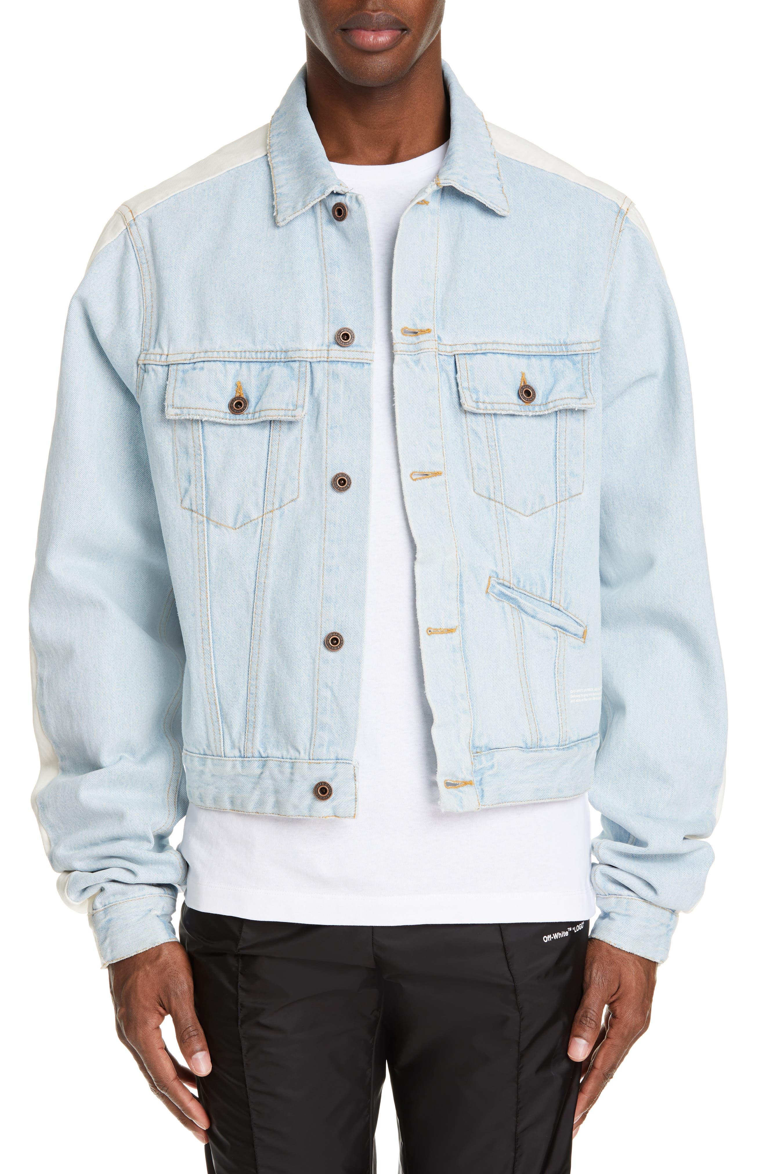 Exaggerated Sleeve Denim Jacket, Main, color, BLEACH