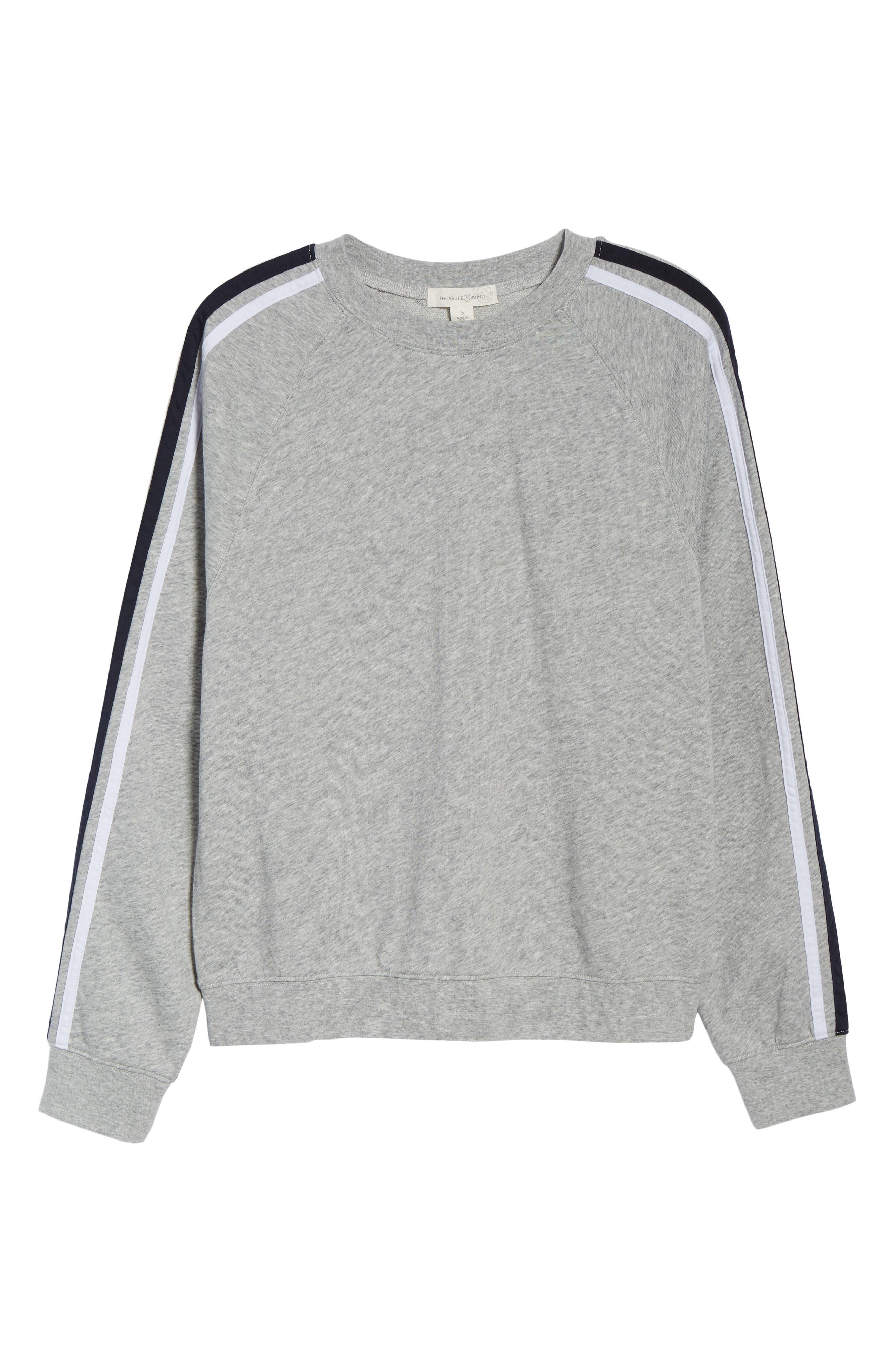 Stripe Raglan Sleeve Sweatshirt,                             Alternate thumbnail 6, color,                             030