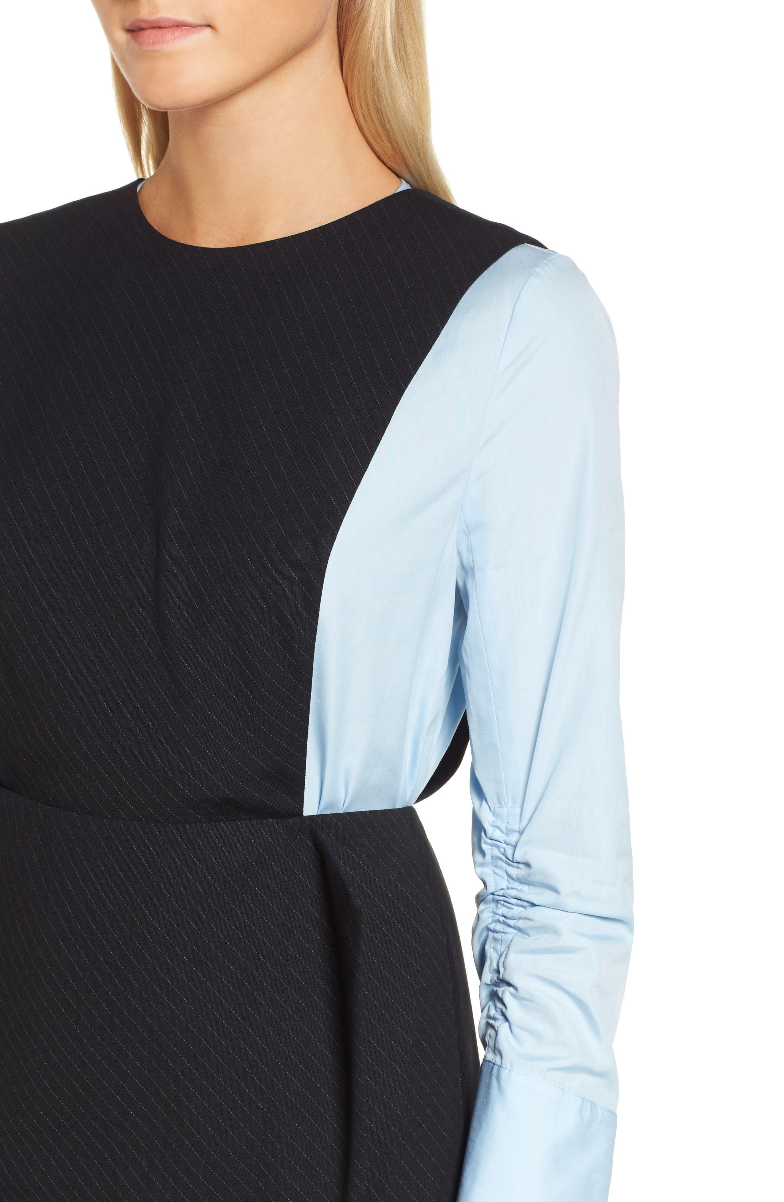 Bias Cut Pinstripe Jumper Dress,                             Alternate thumbnail 4, color,                             401