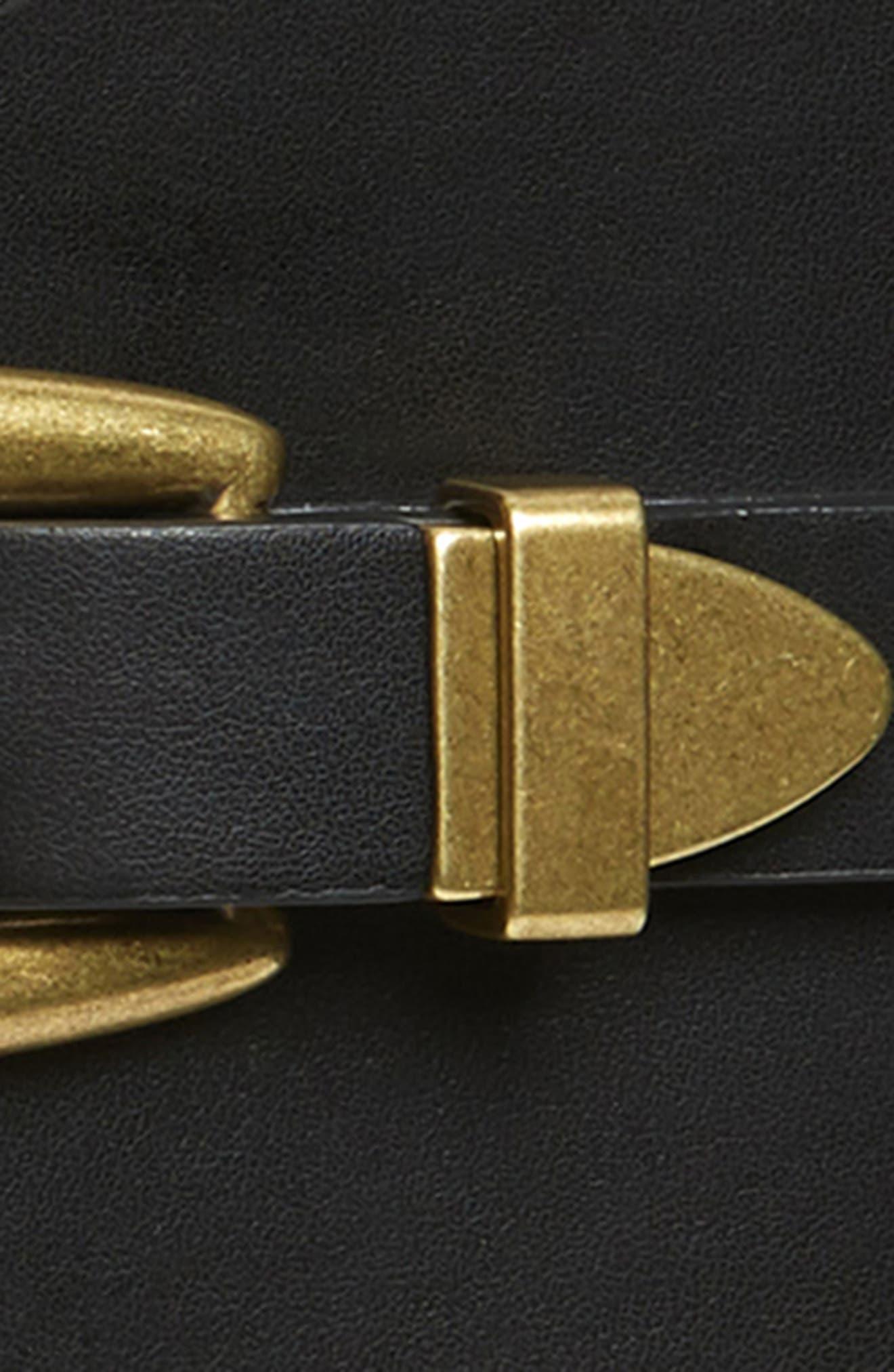 Western Faux Leather Stretch Belt,                             Alternate thumbnail 3, color,                             BLACK