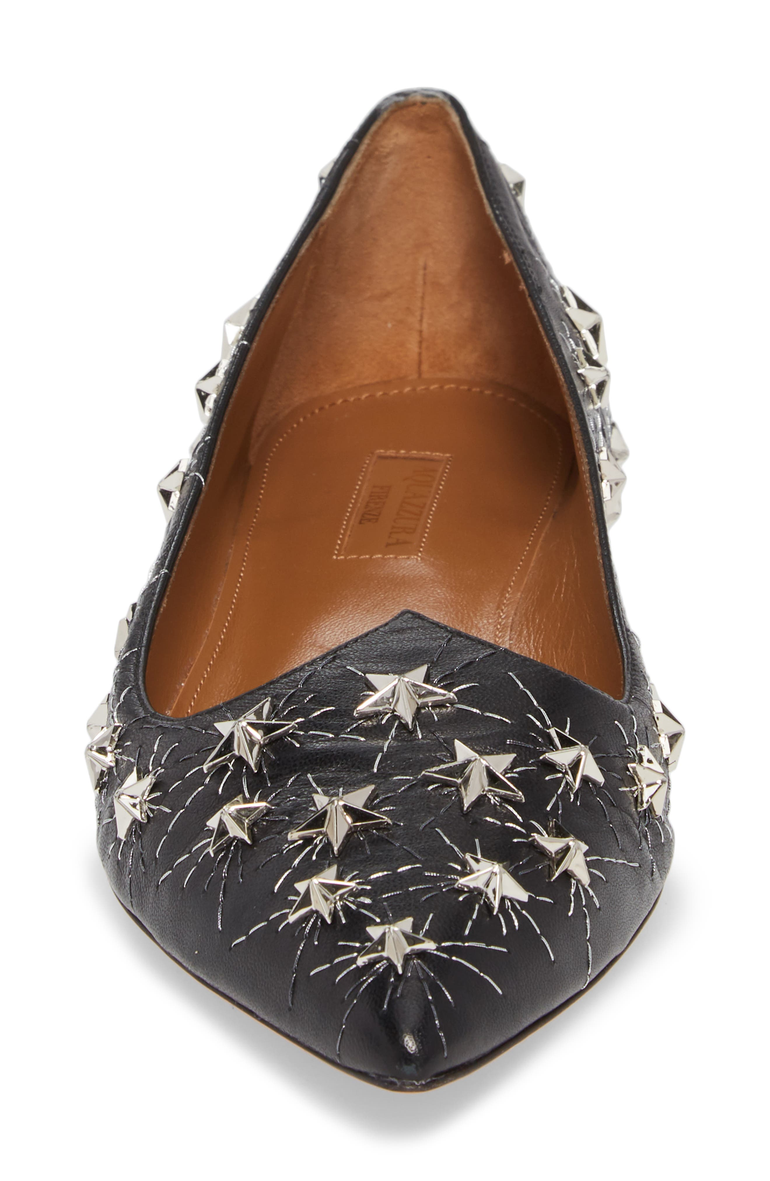 Cosmic Star Pointy Toe Flat,                             Alternate thumbnail 4, color,                             001