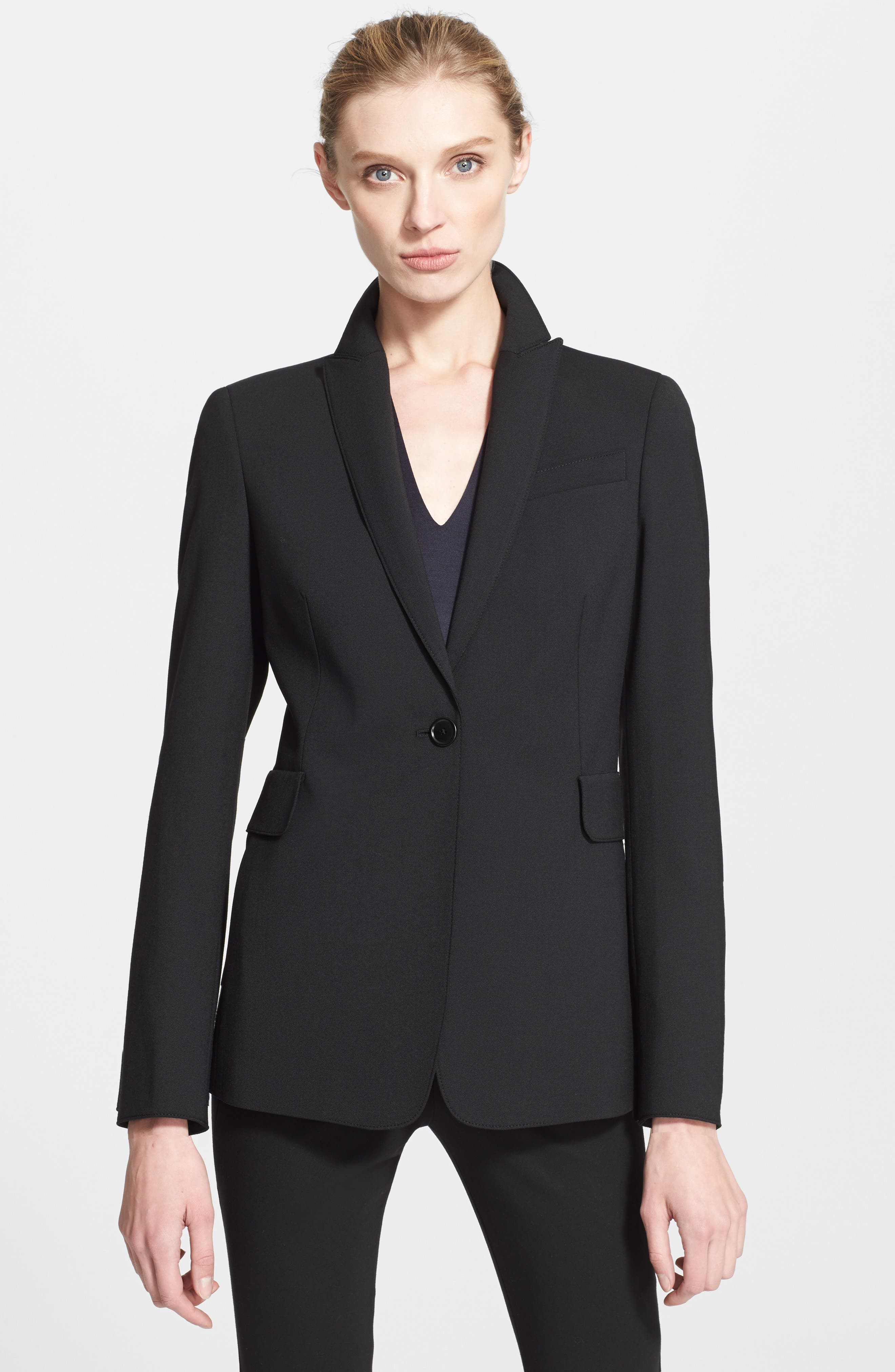 Techno One-Button Jacket,                             Alternate thumbnail 6, color,                             NOIR