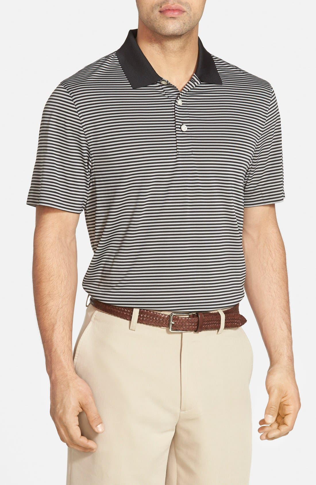 Trevor Stripe DryTec Polo,                         Main,                         color, BLACK/ OXIDE