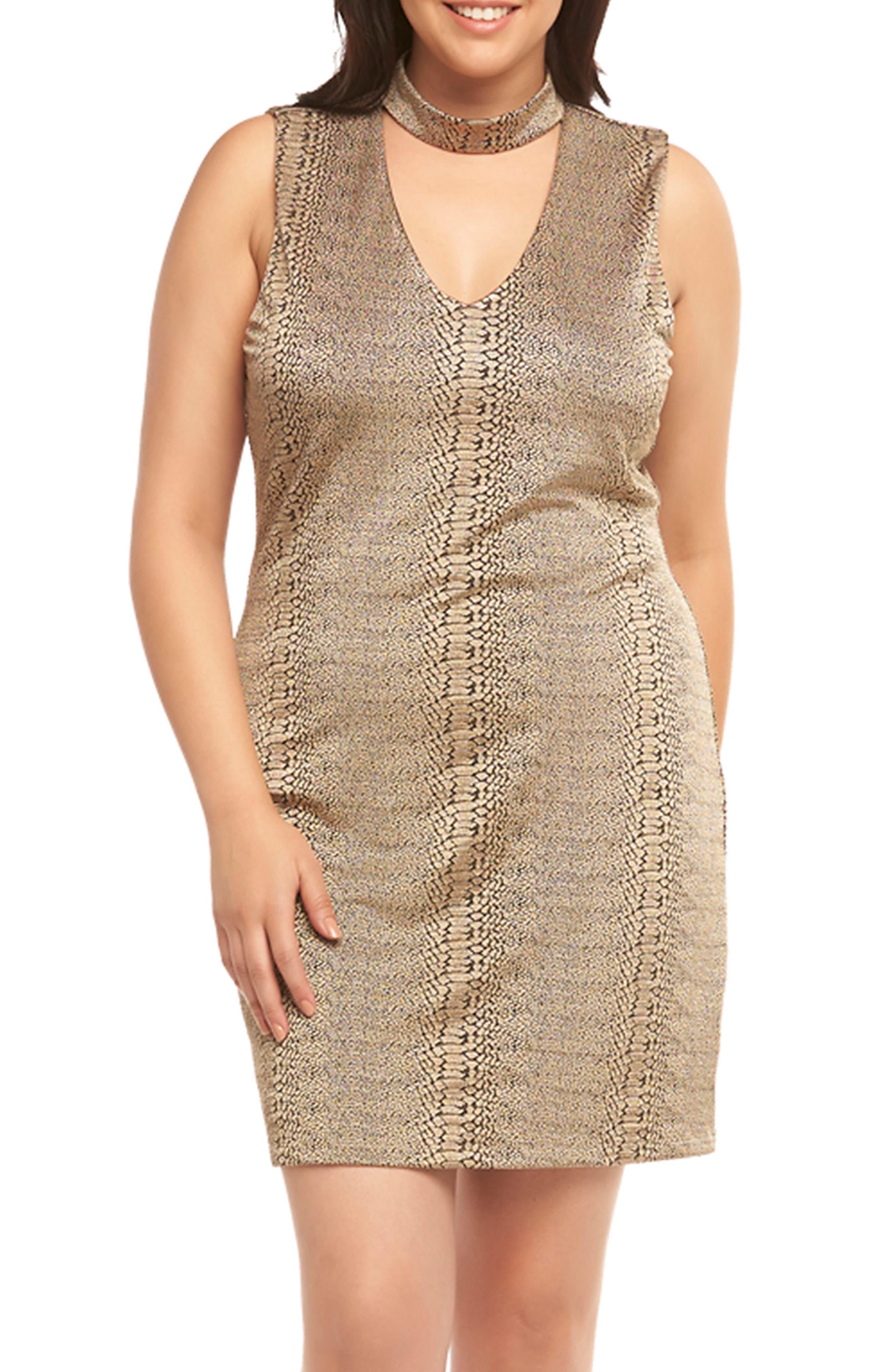 Plus Size Tart Davon Choker Neck Sheath Dress, Metallic