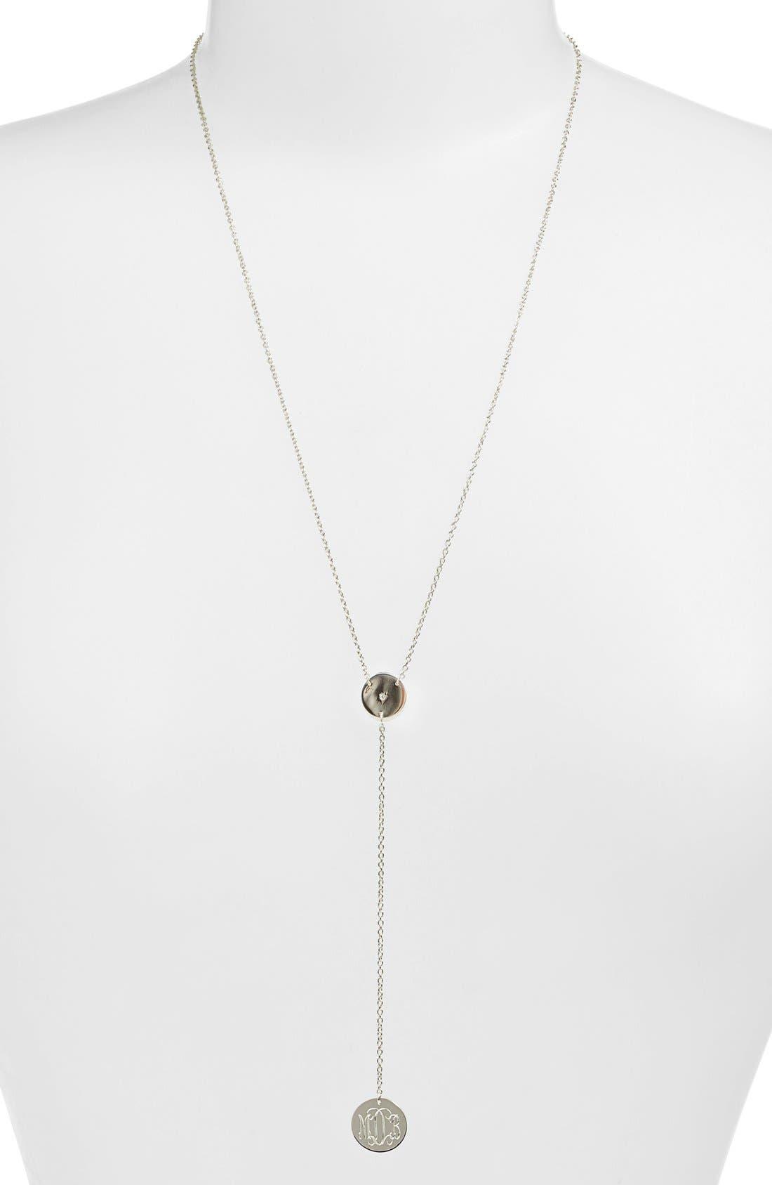 Diamond & Personalized Monogram Y-Necklace,                             Alternate thumbnail 8, color,