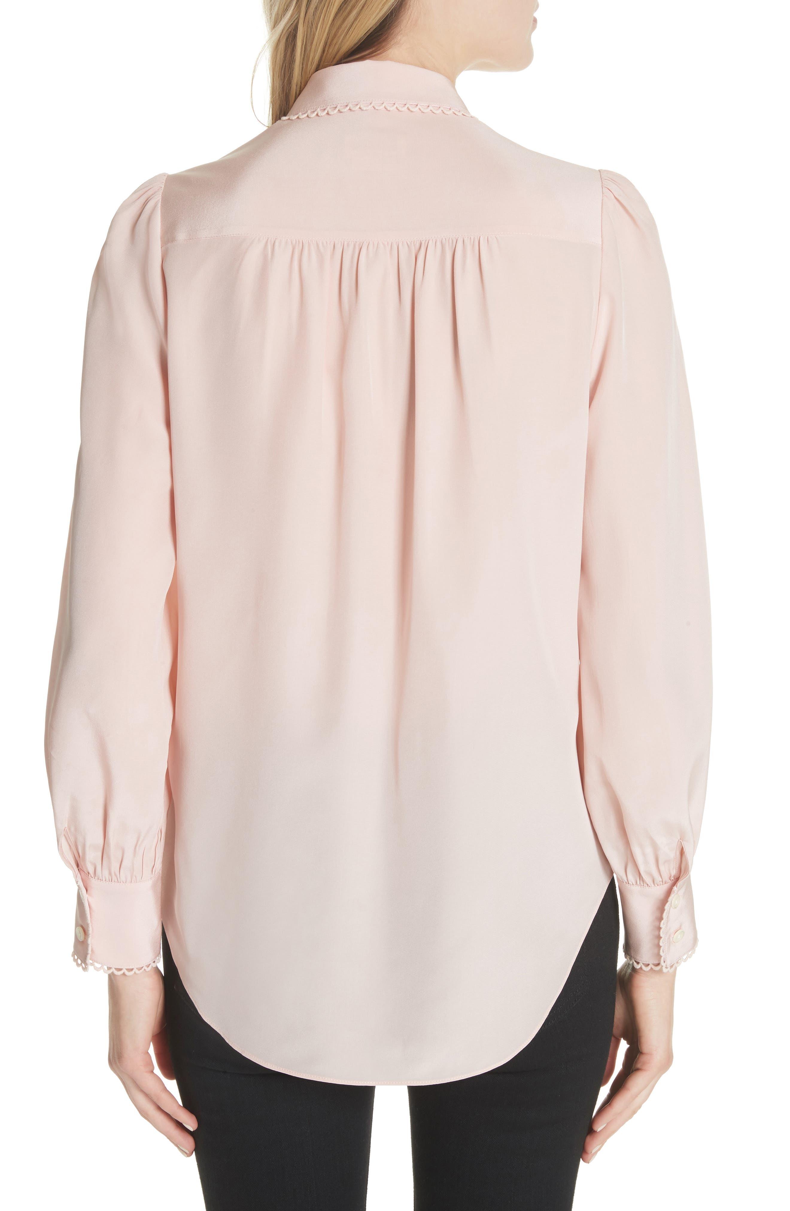 KATE SPADE NEW YORK,                             scallop trim silk shirt,                             Alternate thumbnail 2, color,                             663