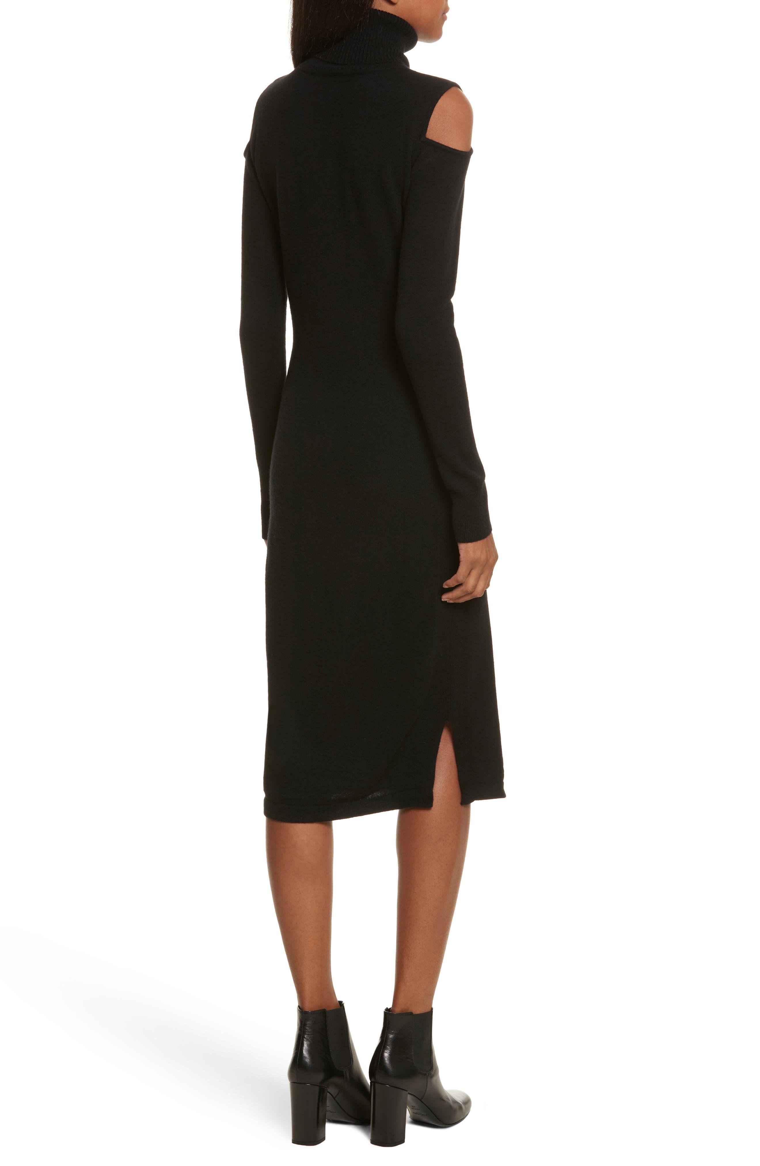 Cashmere Cold Shoulder Turtleneck Sweater Dress,                             Alternate thumbnail 3, color,