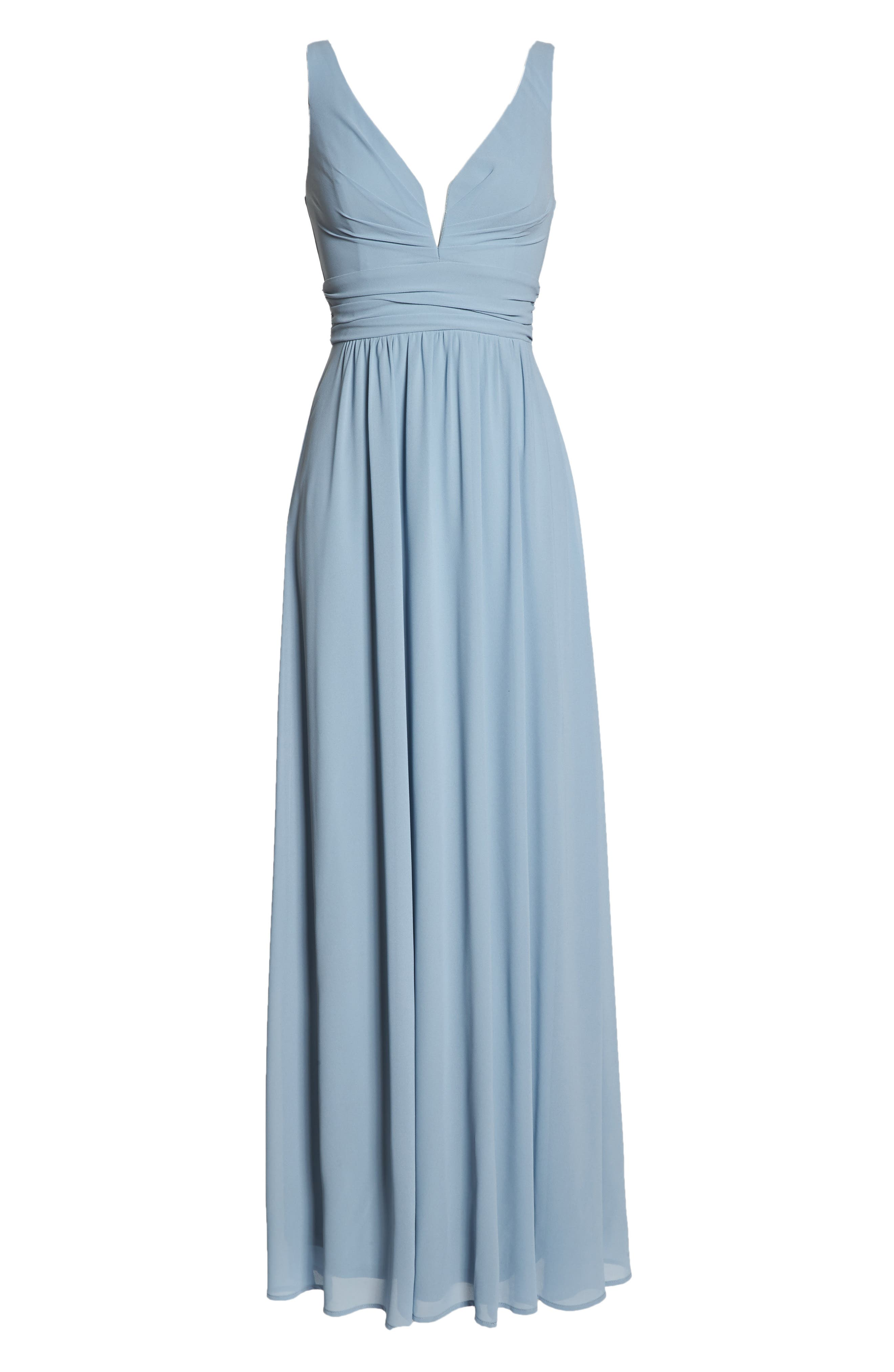 V-Neck Chiffon Gown,                             Alternate thumbnail 7, color,                             LIGHT BLUE