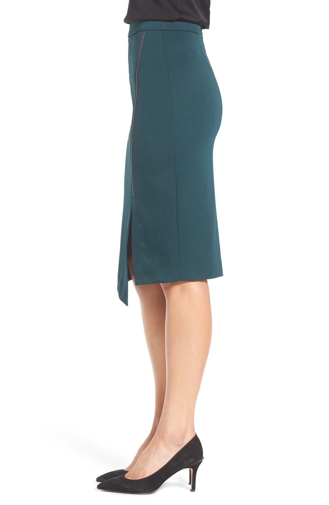Asymmetrical Zip Pencil Skirt,                             Alternate thumbnail 10, color,