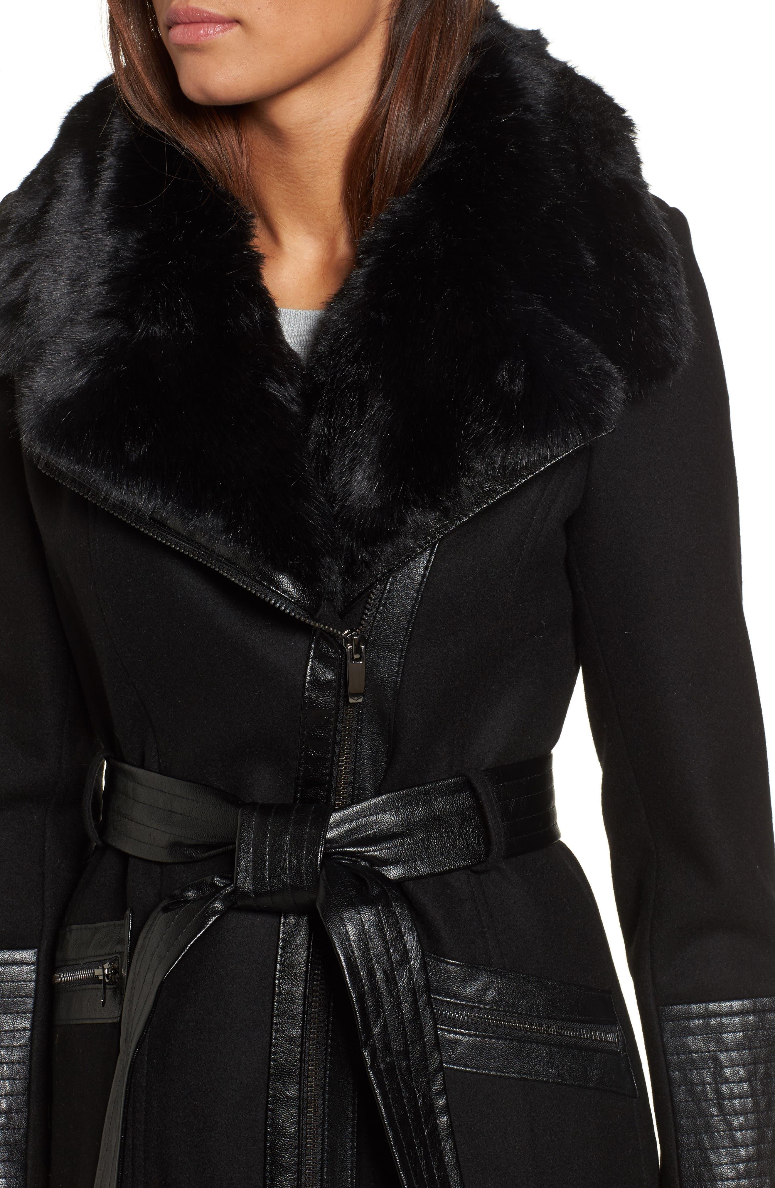 Faux Leather & Faux Fur Trim Belted Wool Blend Coat,                             Alternate thumbnail 32, color,