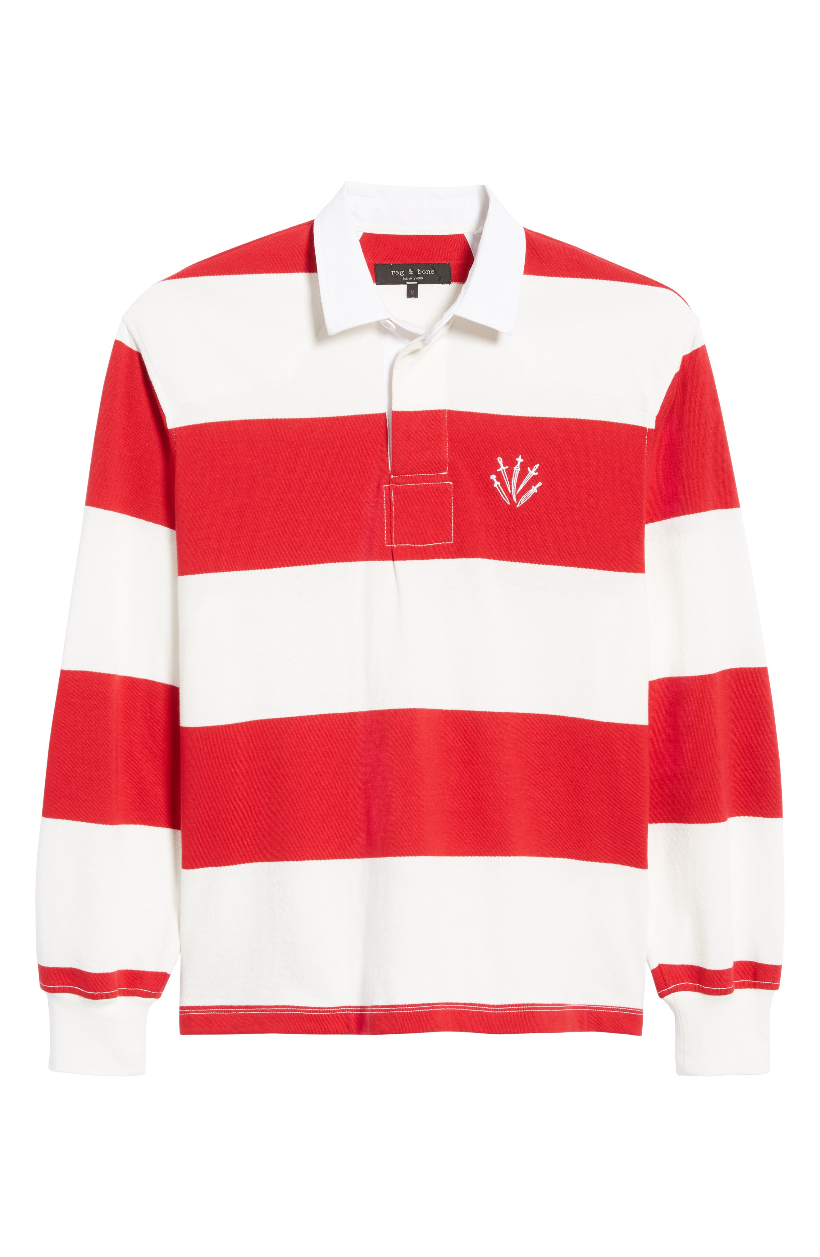 Regular Fit Rugby Shirt,                             Alternate thumbnail 6, color,                             RED/ IVORY