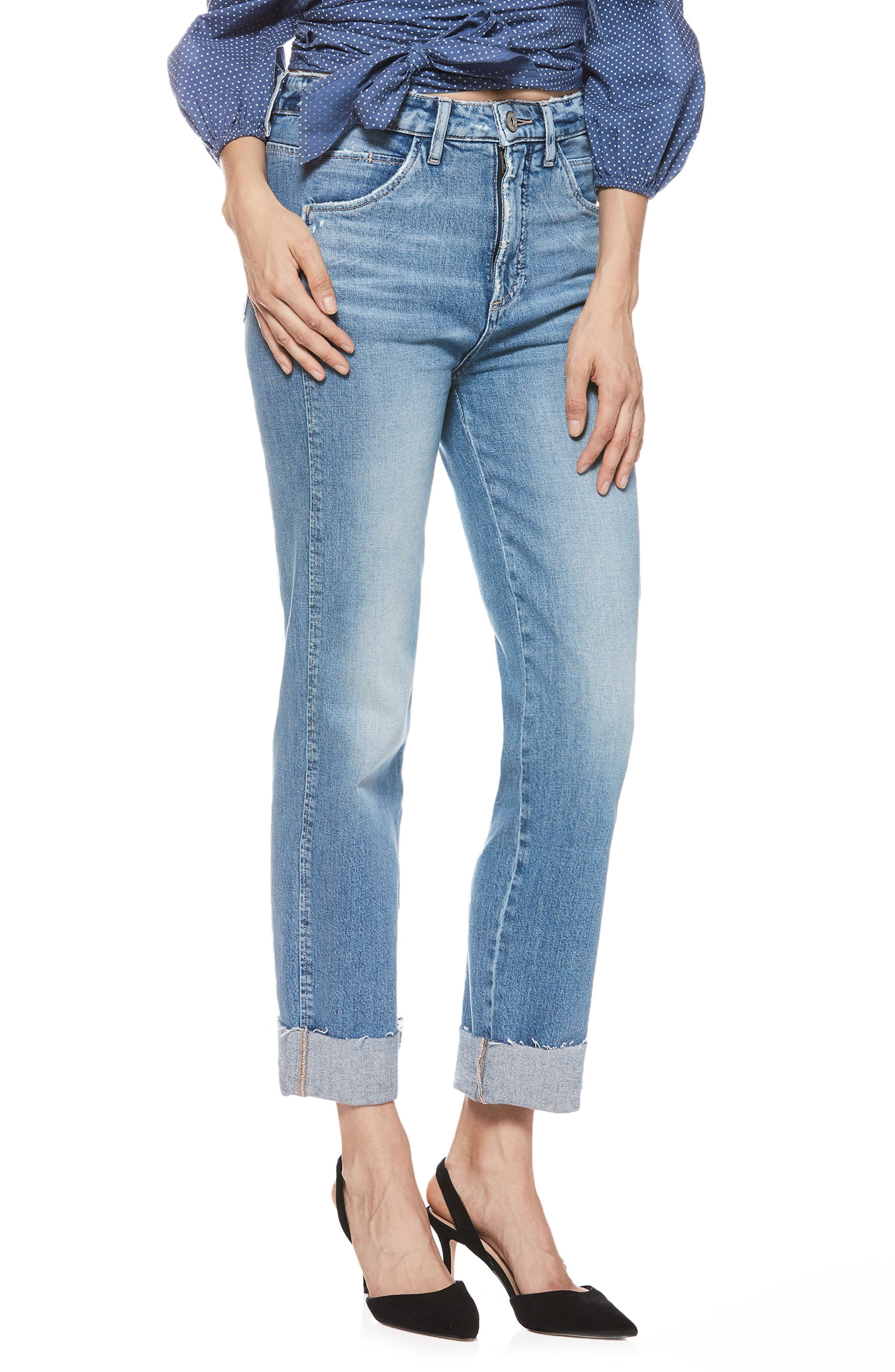 Sarah High Waist Straight Leg Jeans,                         Main,                         color, 400