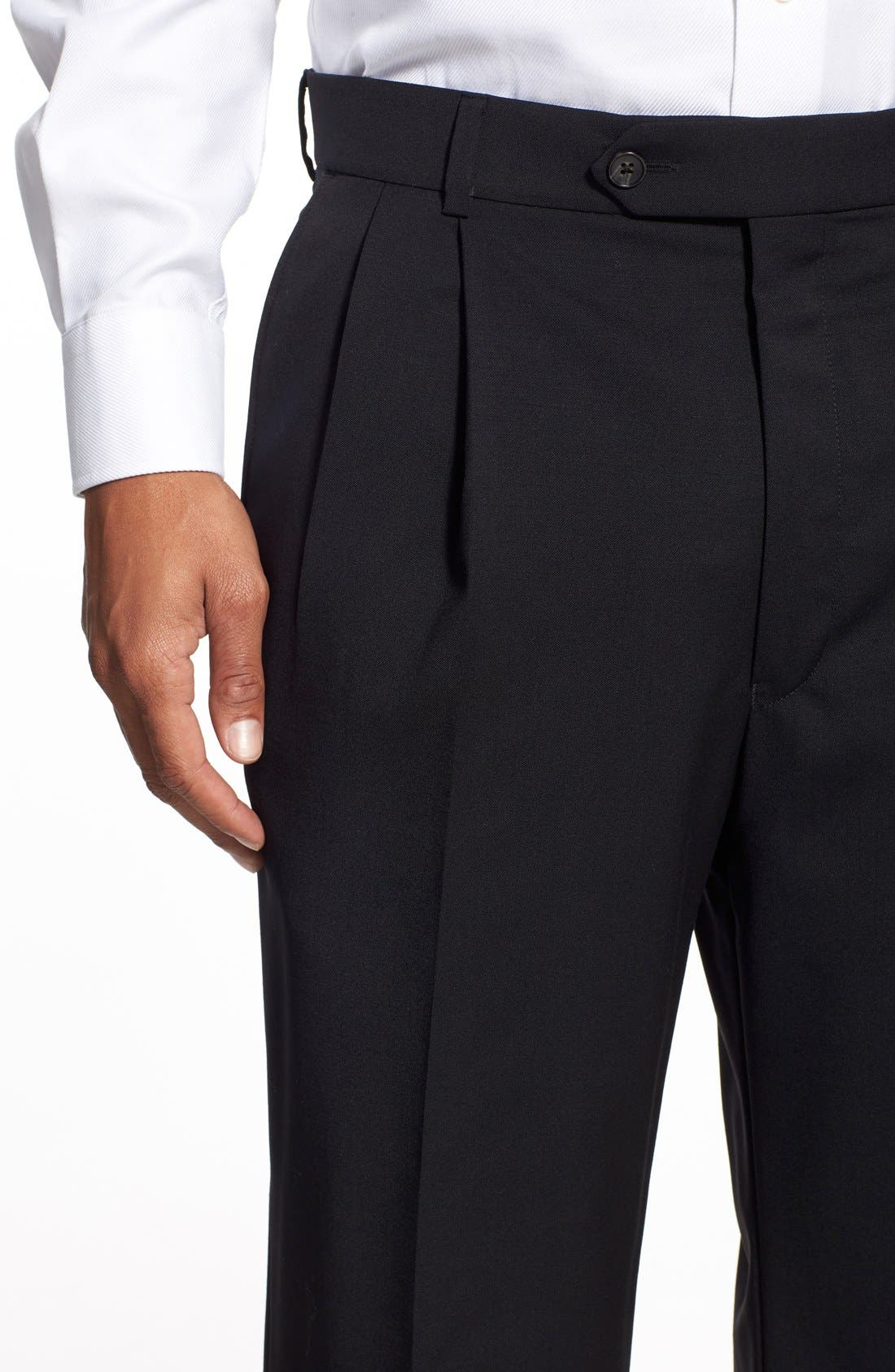 Pleated Solid Wool Trousers,                             Alternate thumbnail 42, color,