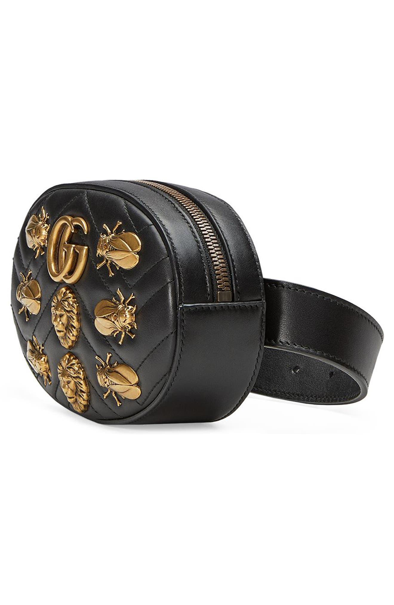 GG Marmont 2.0 Animal Stud Matelassé Leather Belt Bag,                             Alternate thumbnail 4, color,                             001