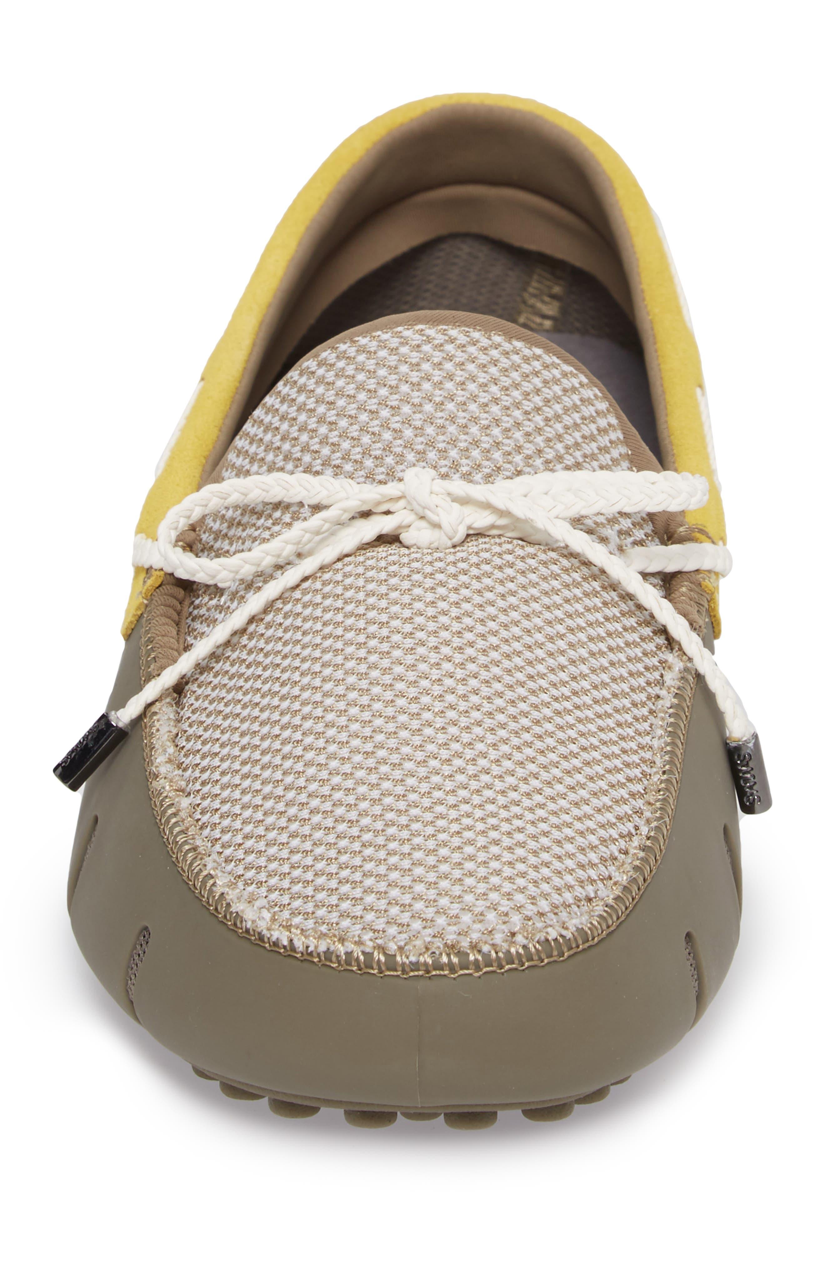 Driving Shoe,                             Alternate thumbnail 4, color,                             KHAKI/ FADED LEMON/ WHITE