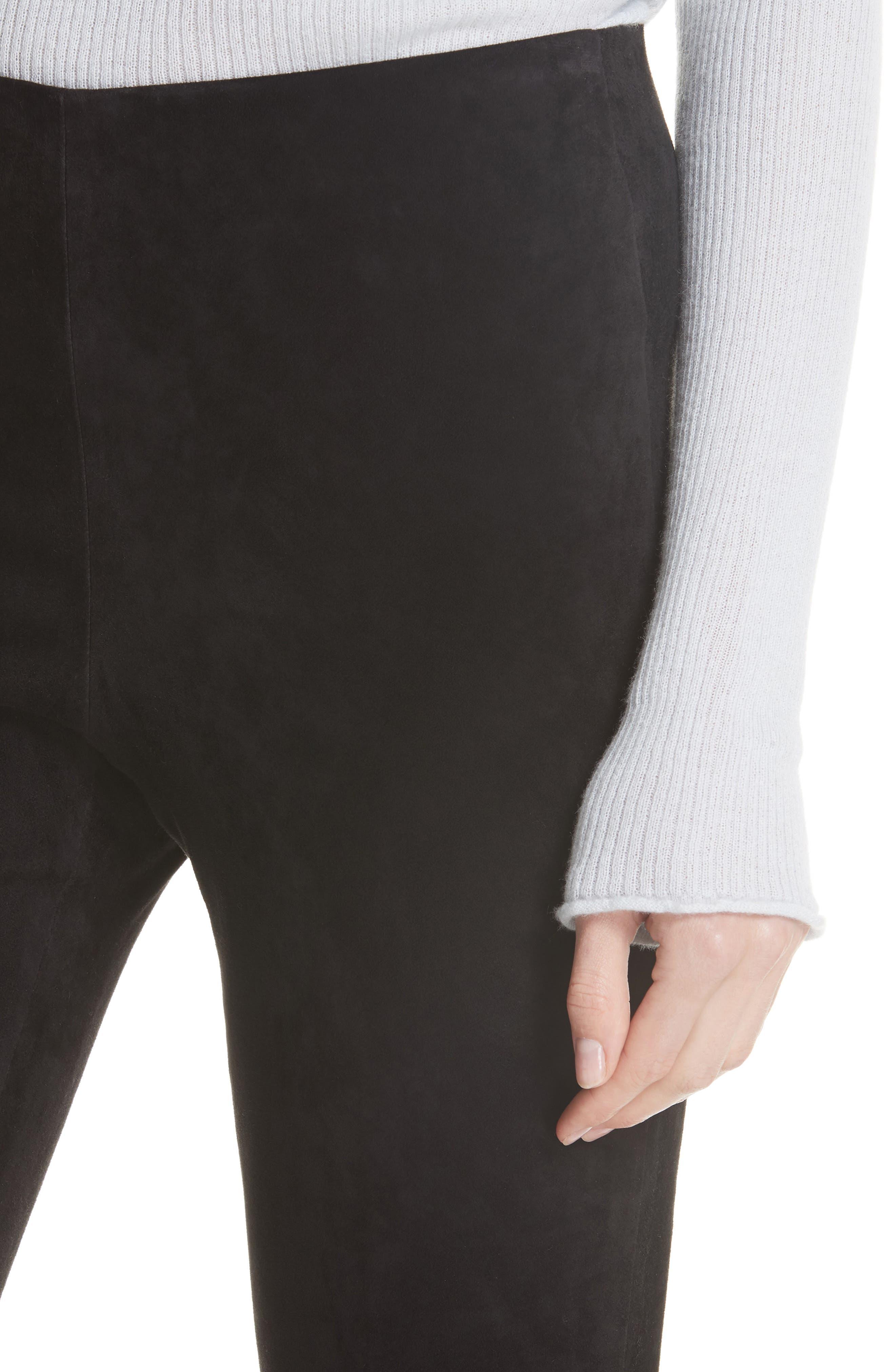 Stretch Suede Split Hem Crop Pants,                             Alternate thumbnail 4, color,                             001