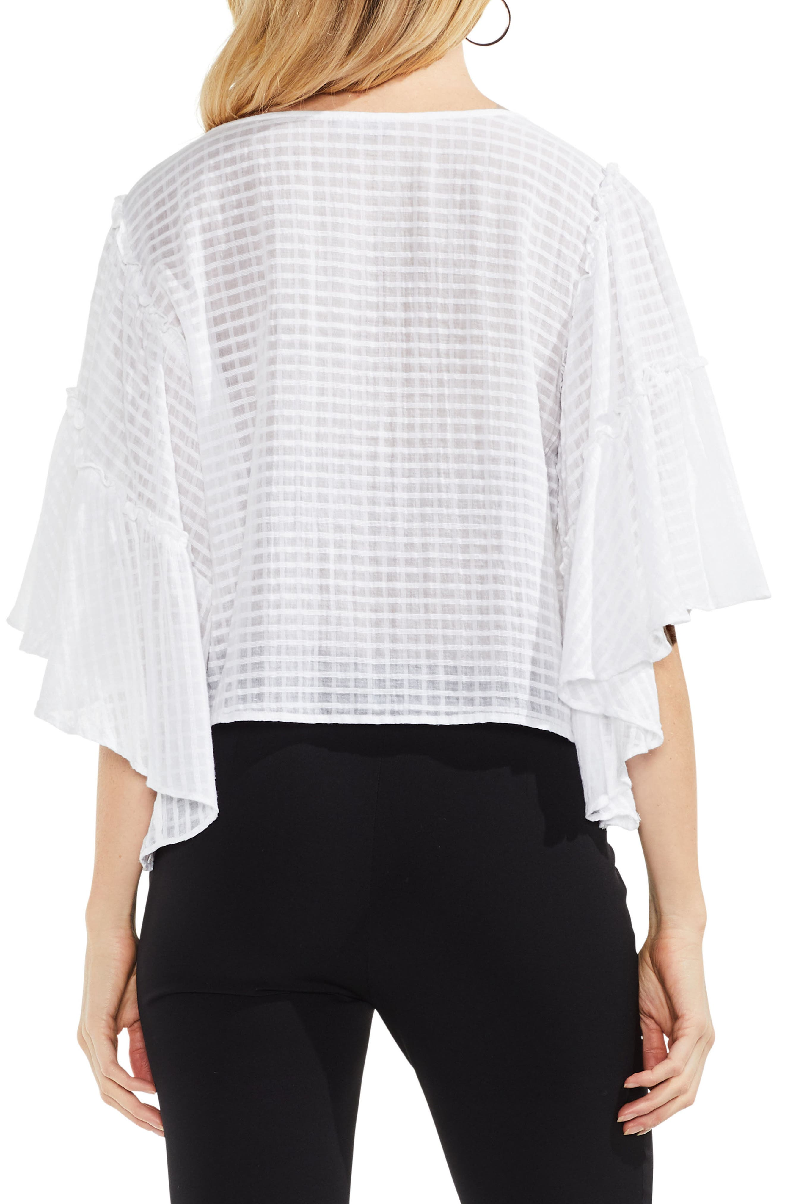 Grid Drop Shoulder Ruffle Sleeve Blouse,                             Alternate thumbnail 4, color,