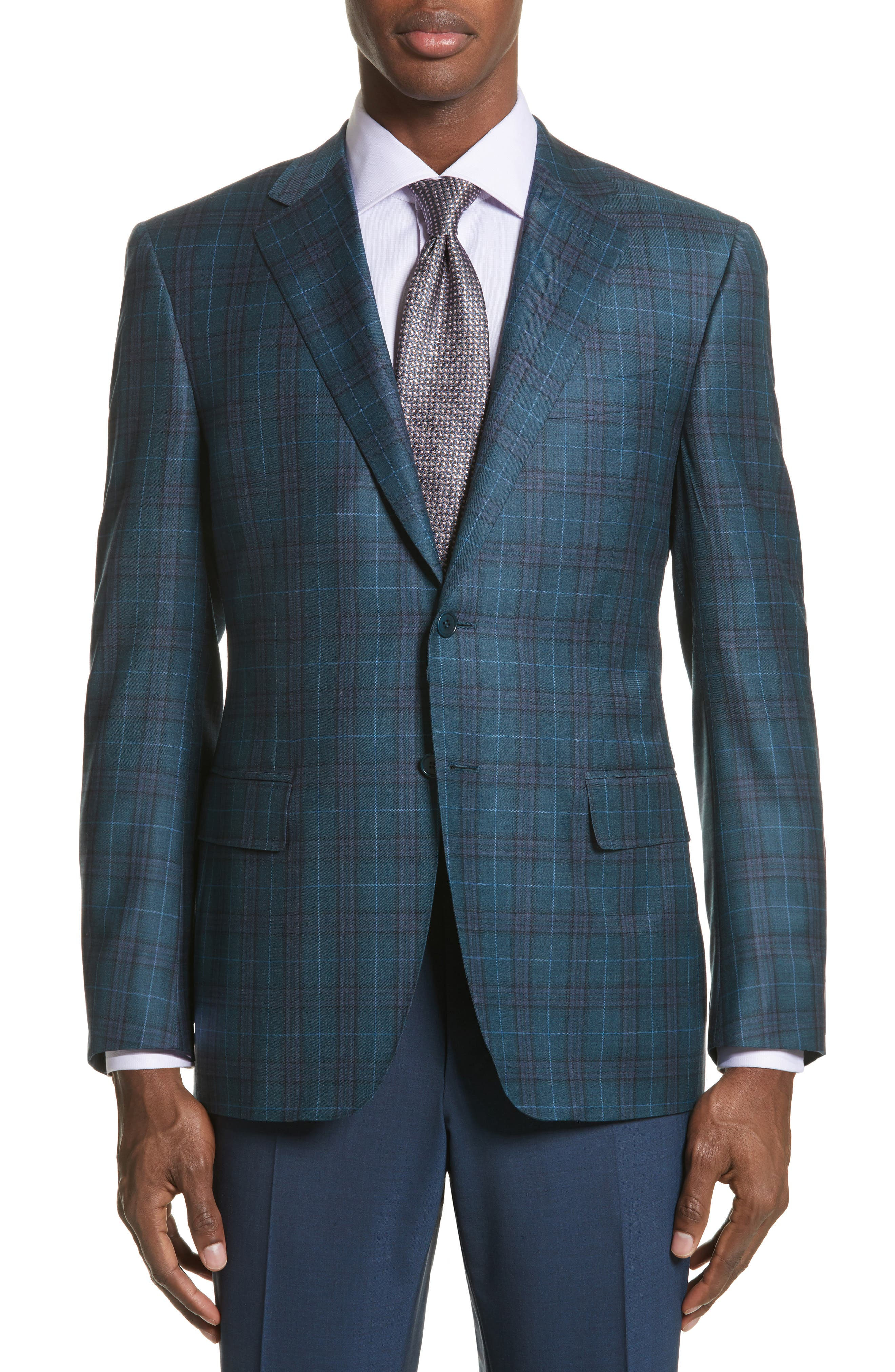 Classic Fit Plaid Wool Sport Coat,                         Main,                         color, 301