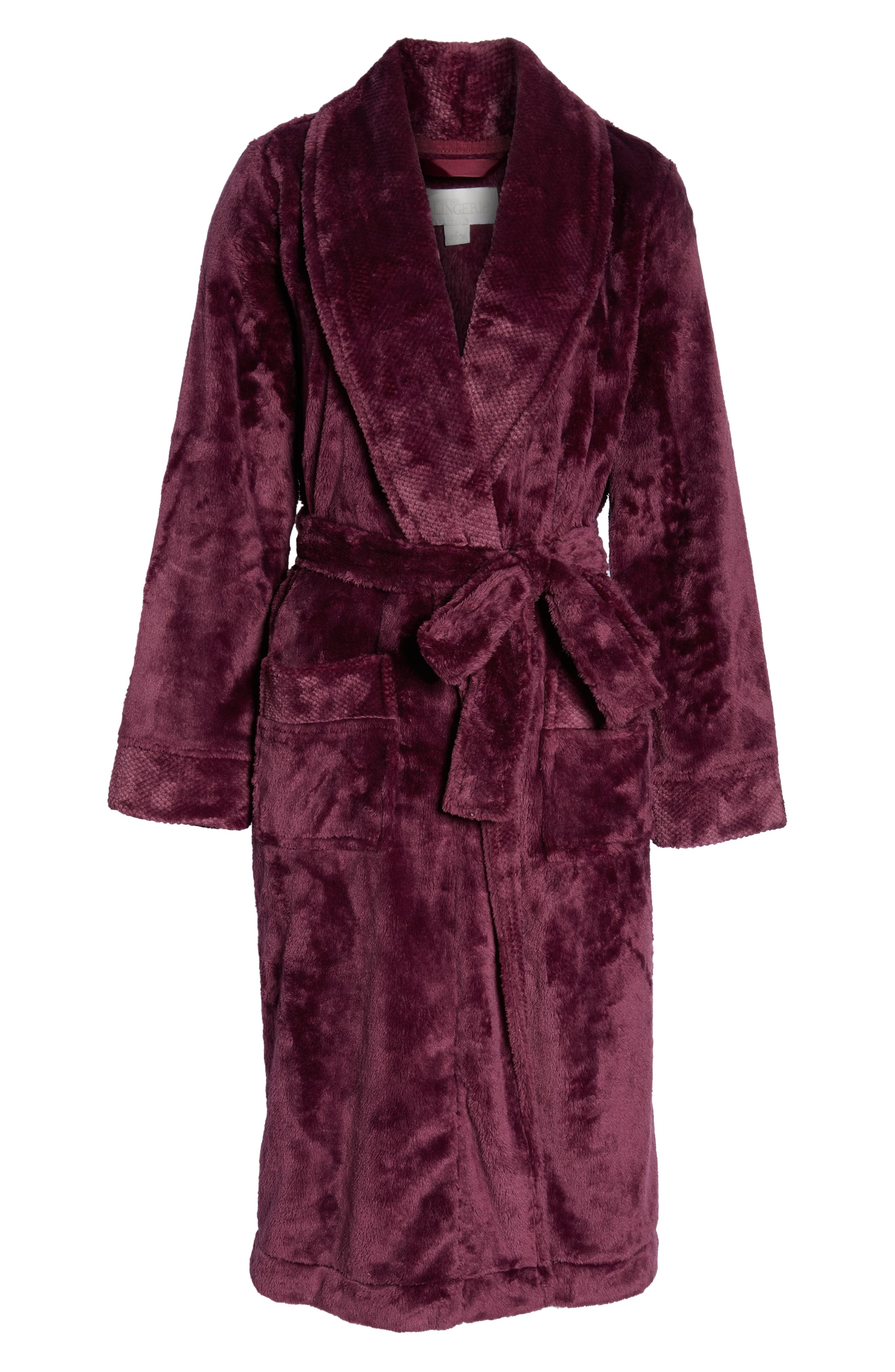 Nordstrom So Soft Plush Robe,                             Alternate thumbnail 6, color,                             PURPLE CRUSH