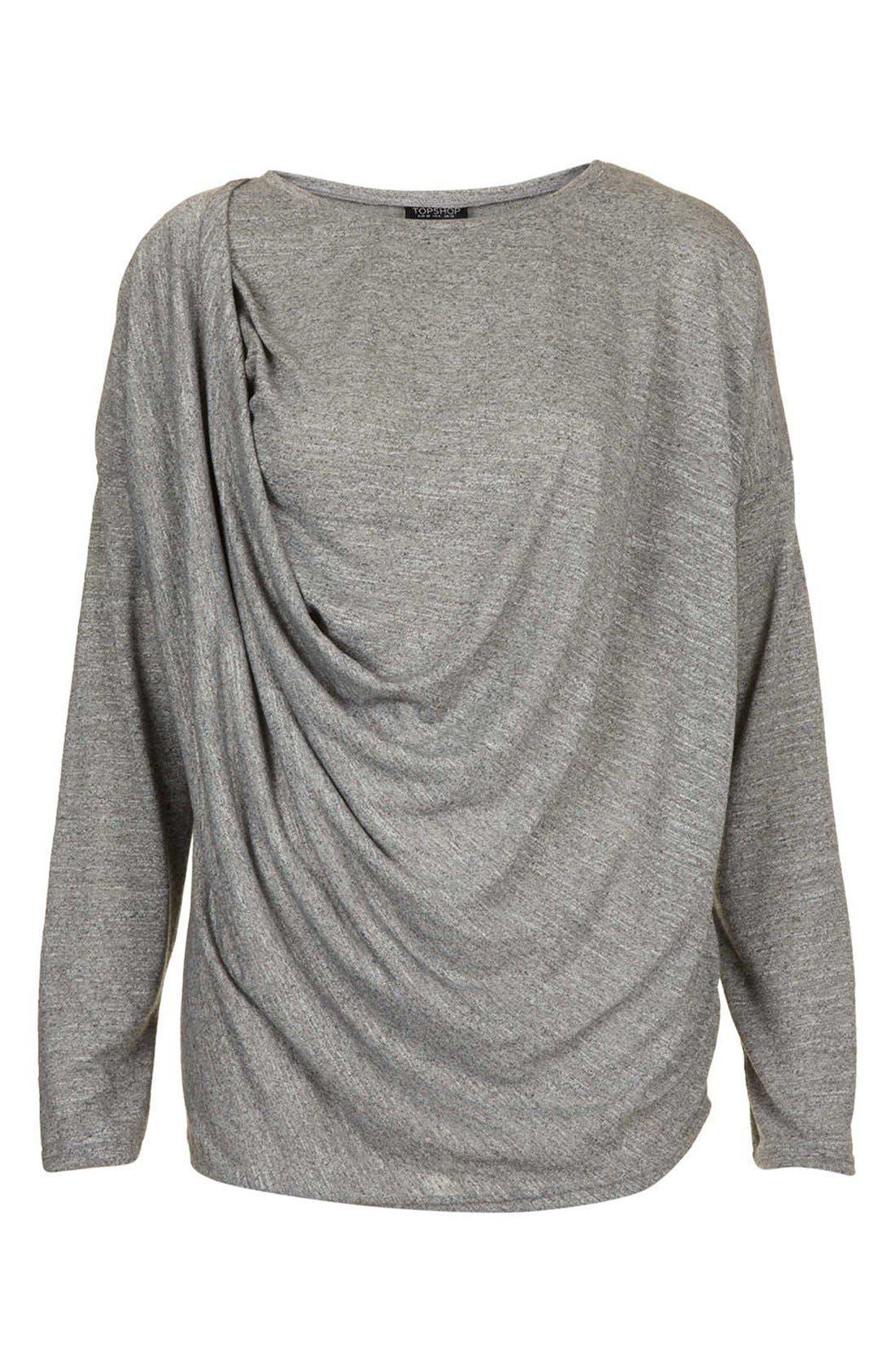 Long Sleeve Drape Top,                             Alternate thumbnail 4, color,                             050