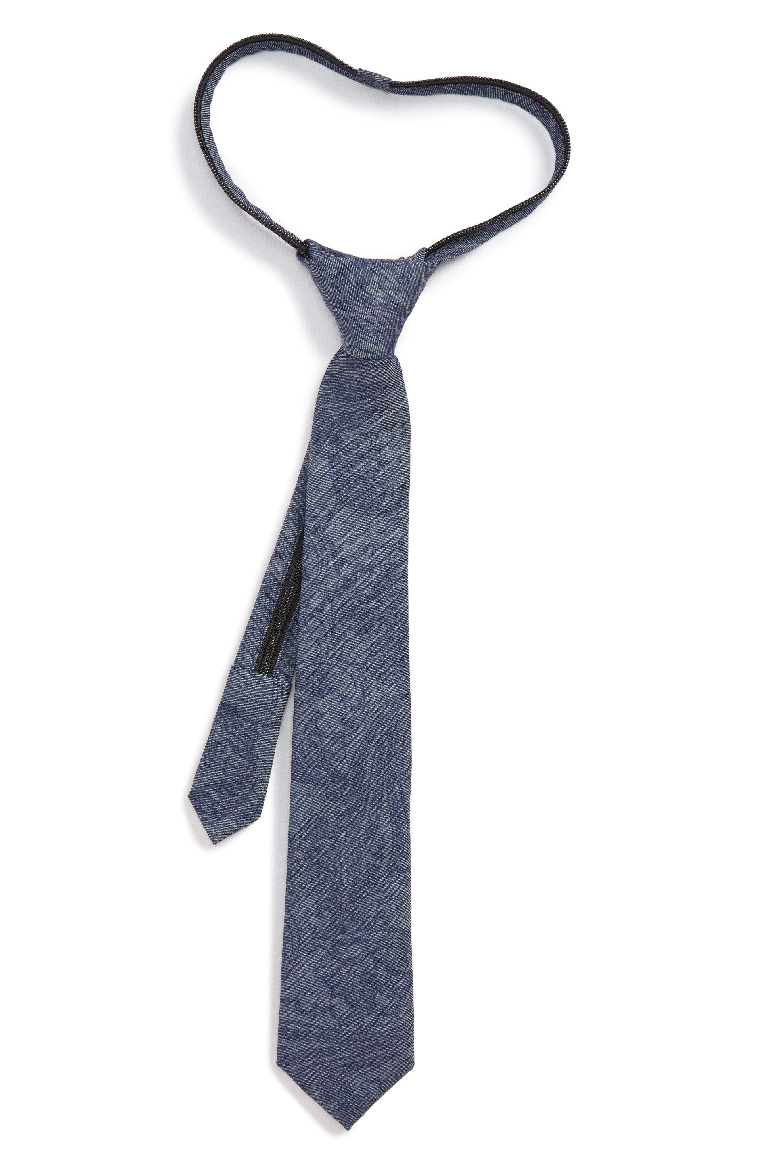 Paisley Cotton Blend Zip Tie,                         Main,                         color, NAVY