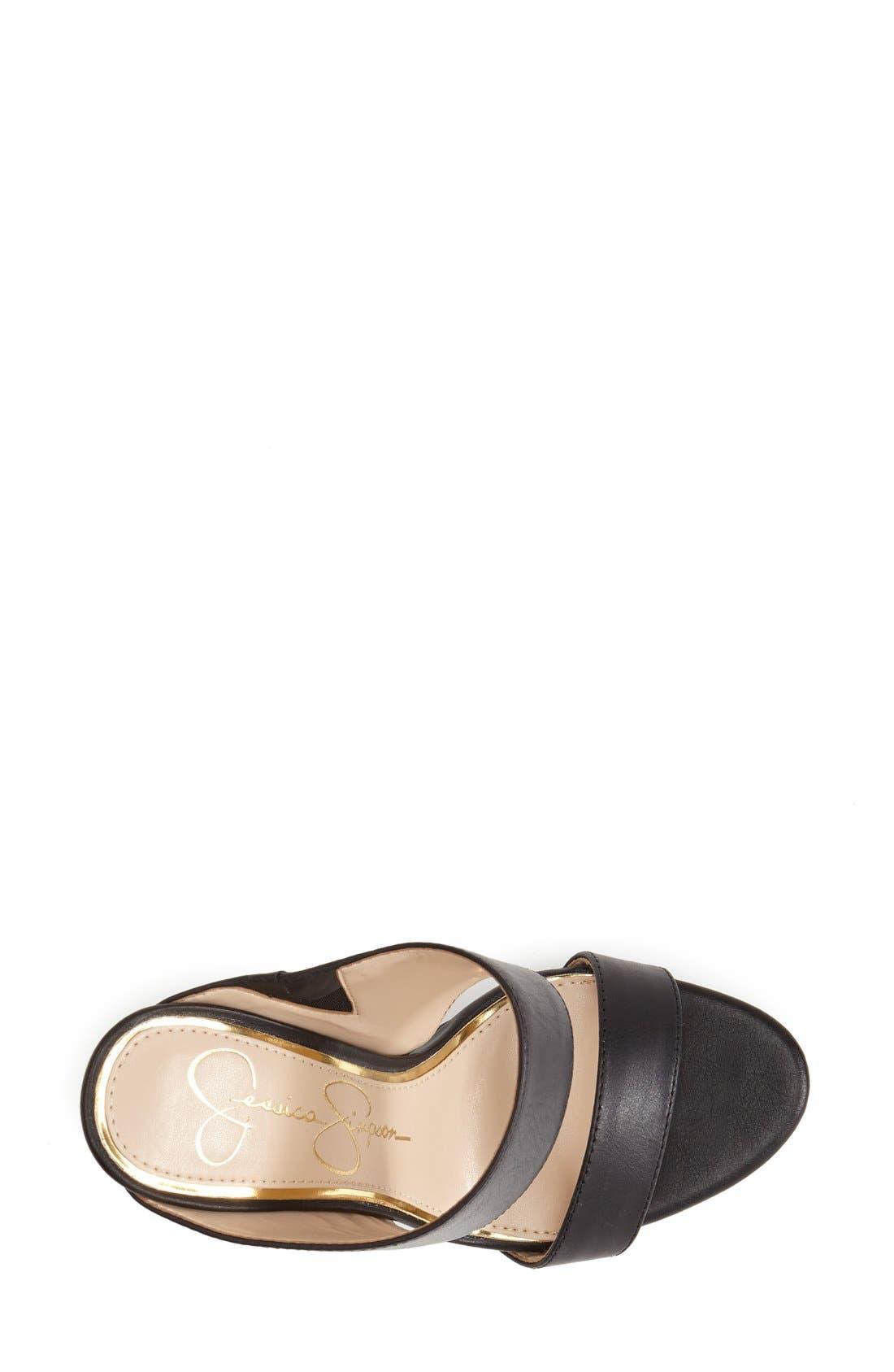 JESSICA SIMPSON,                             'Romy' Leather Platform Mule,                             Alternate thumbnail 4, color,                             001